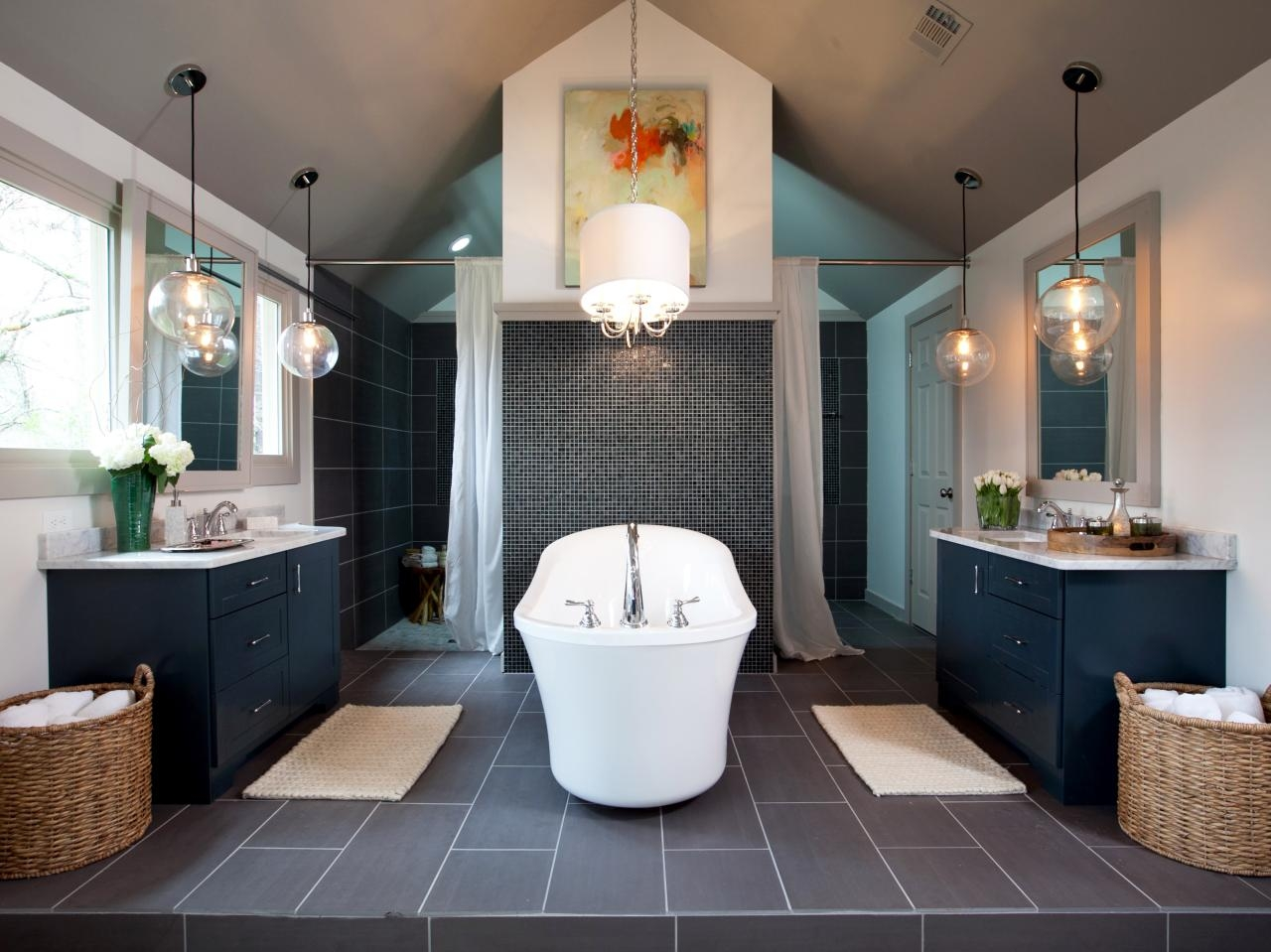 Bathrooms Modern Bathroom With Oval Modern Bathtub And Wooden Pertaining To Modern Bathroom Chandeliers (Image 10 of 15)