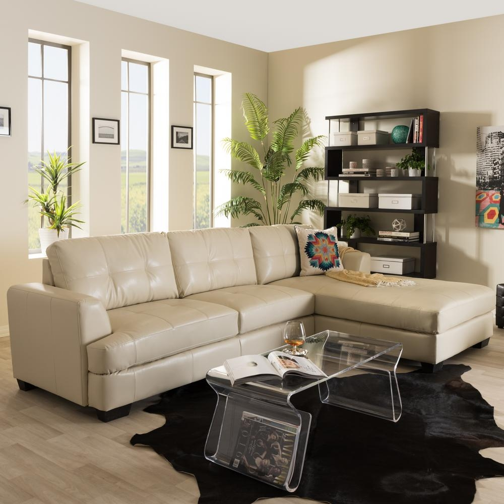 Baxton Studio Dobson Contemporary Cream Bonded Leather Upholstered Within Dobson Sectional Sofa (Image 4 of 15)