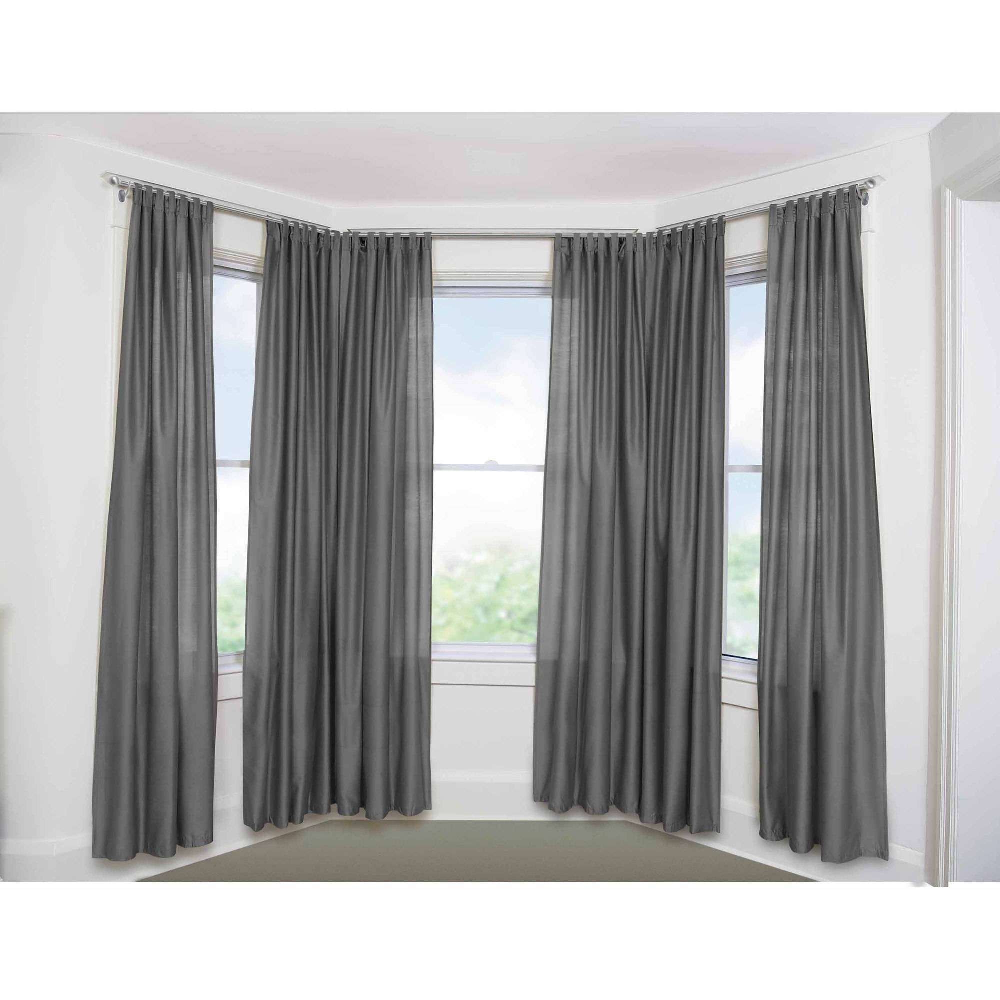 Bay Window Curtain Rod Set 58 Walmart With Bay Windows Curtains (Image 4 of 15)