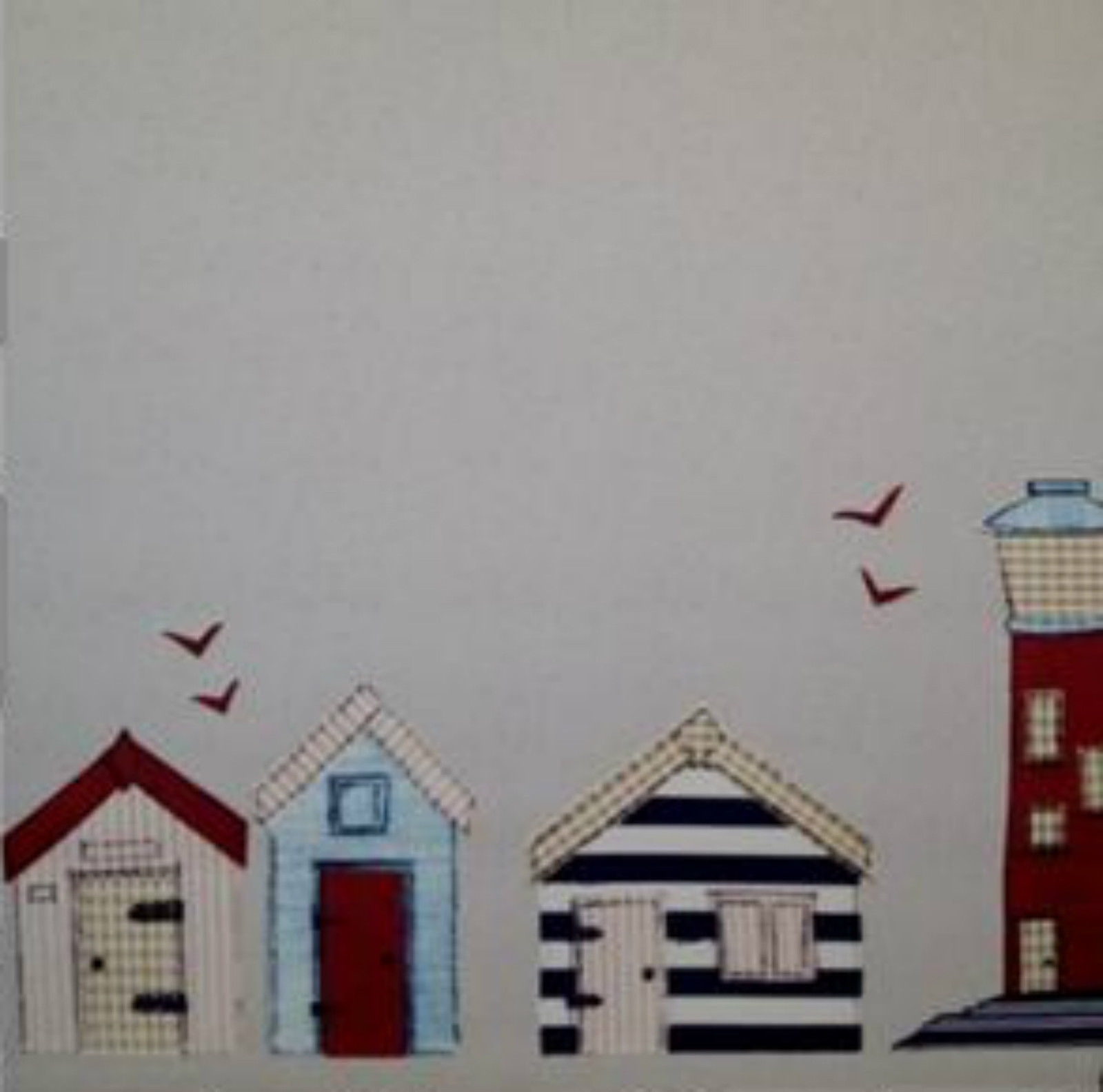 Beach Hut Daylight Roller Blind Blinds Beachhuts And Lighthouse In Patterned Roller Blind (Image 2 of 15)
