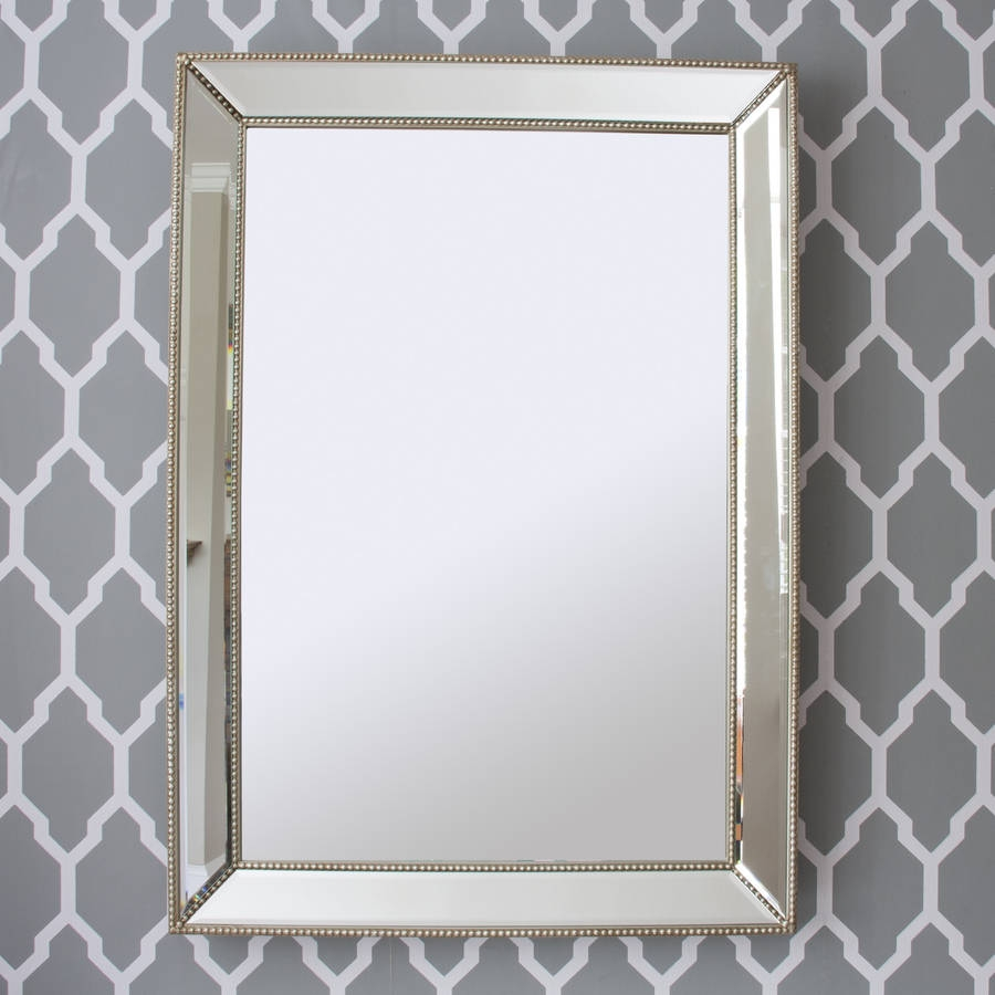 Beaded Champagne Silver Or Gold Mirror Decorative Mirrors For Champagne Silver Mirror (View 2 of 15)