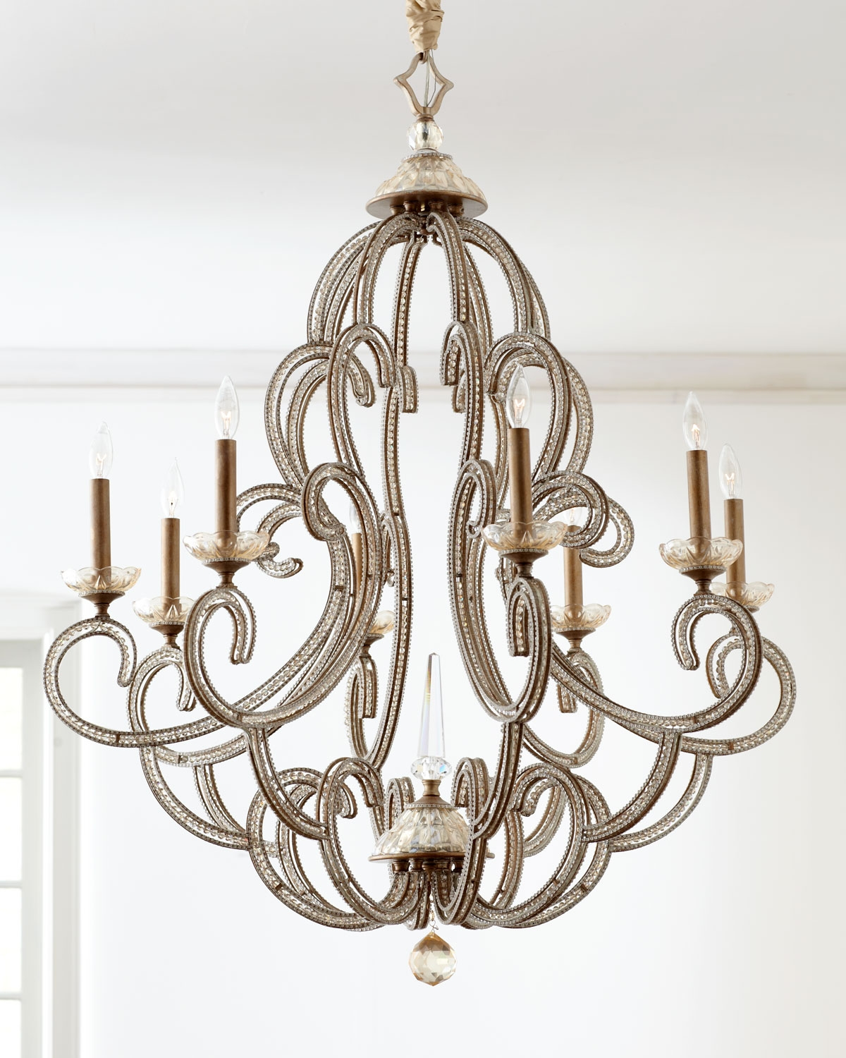 Beaded Elegance 8 Light Chandelier Chandeliers With Regard To Mirrored Chandelier (Image 3 of 15)