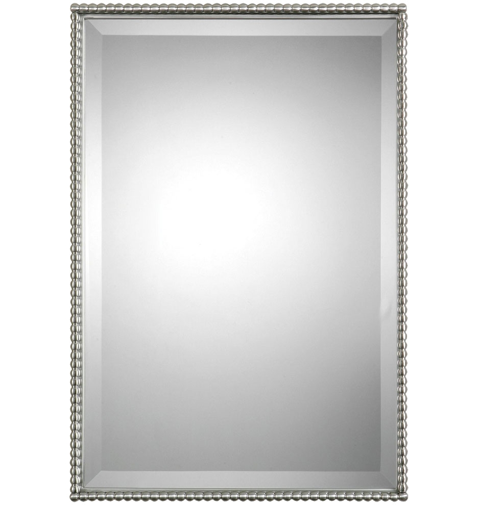 Beaded Rectangle Mirror Rejuvenation With Rectangular Silver Mirror (Image 2 of 15)
