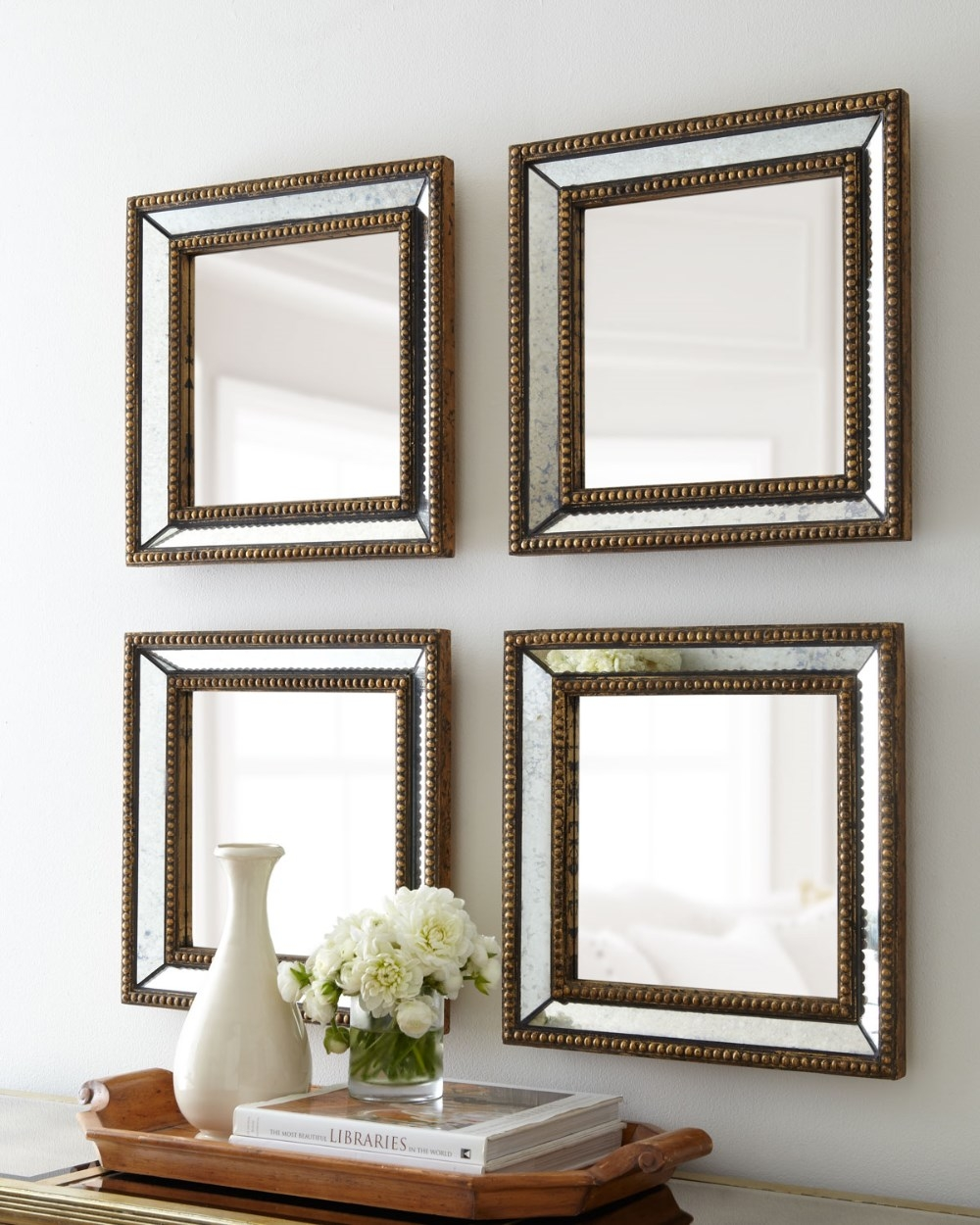 Beaded Square Home Decor Wall Tray Mirror View Wall Mirror With Regard To Square Wall Mirror (Image 4 of 15)