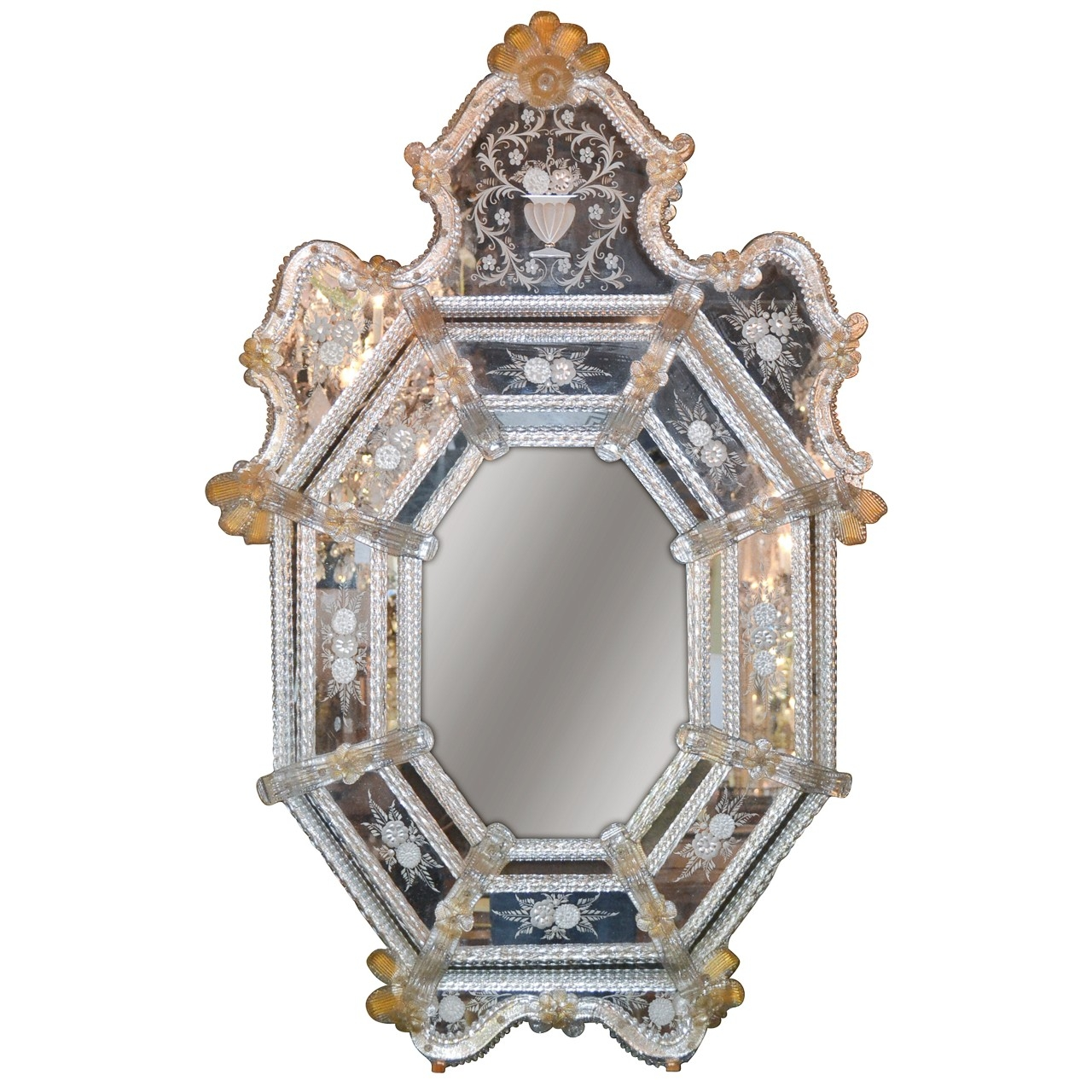 Beautiful Antique Venetian Etched Glass Mirror Legacy Antiques Inside Venetian Etched Glass Mirror (Image 4 of 15)