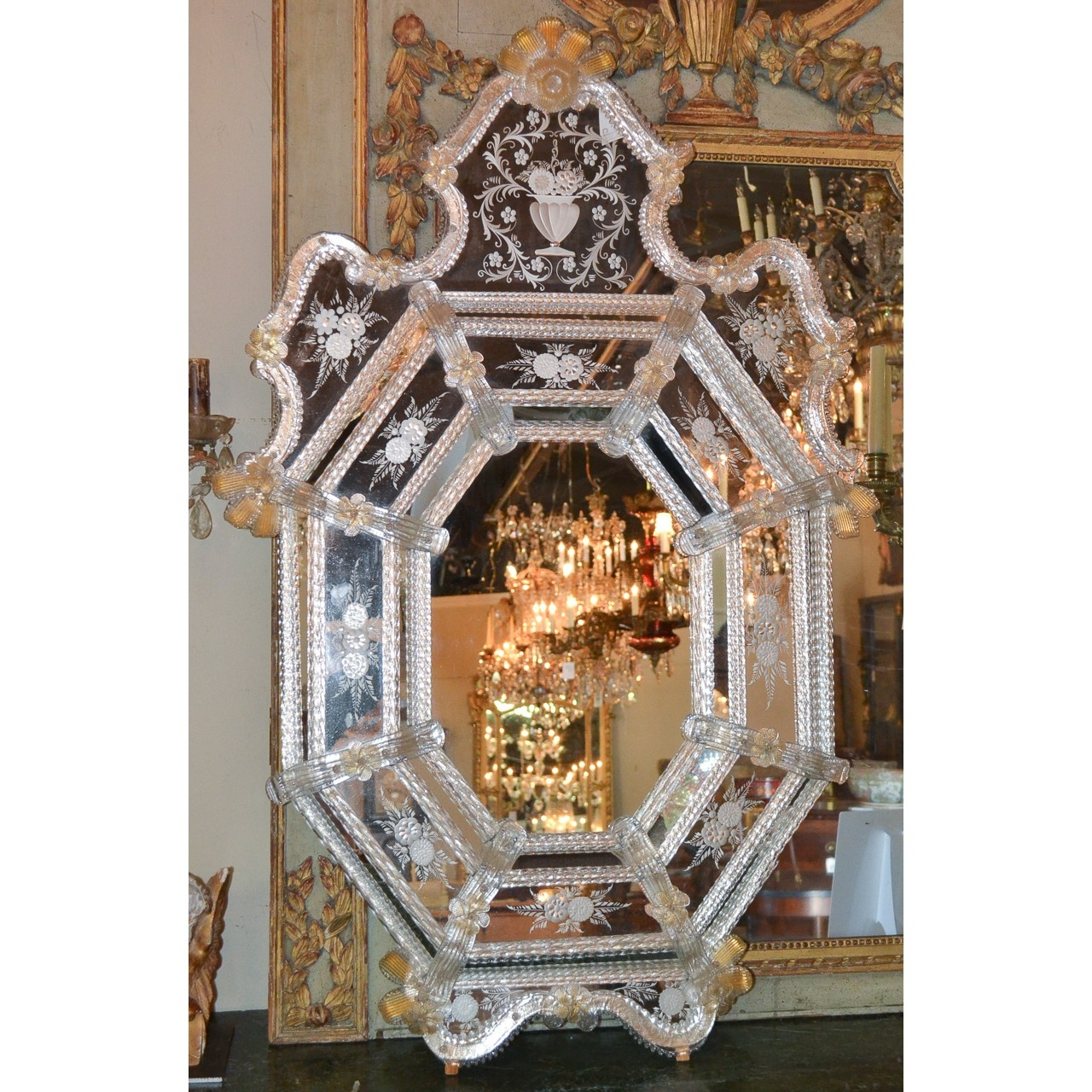 Beautiful Antique Venetian Etched Glass Mirror Legacy Antiques Regarding Venetian Etched Glass Mirror (Image 5 of 15)