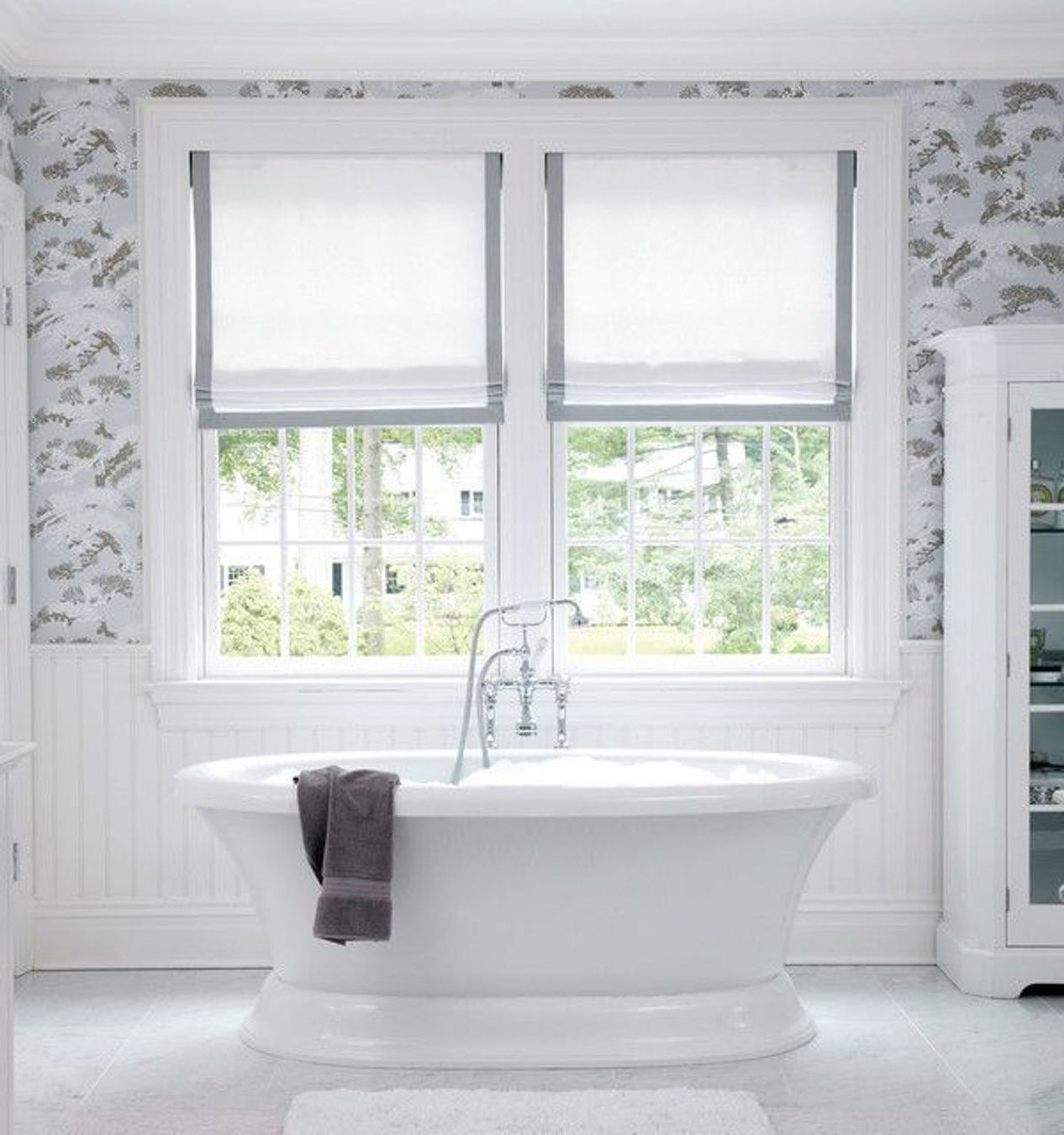 Beautiful Bathroom Will Dusty Blue And Gray And White Patterned In Bathroom Roman Blinds (Image 3 of 15)