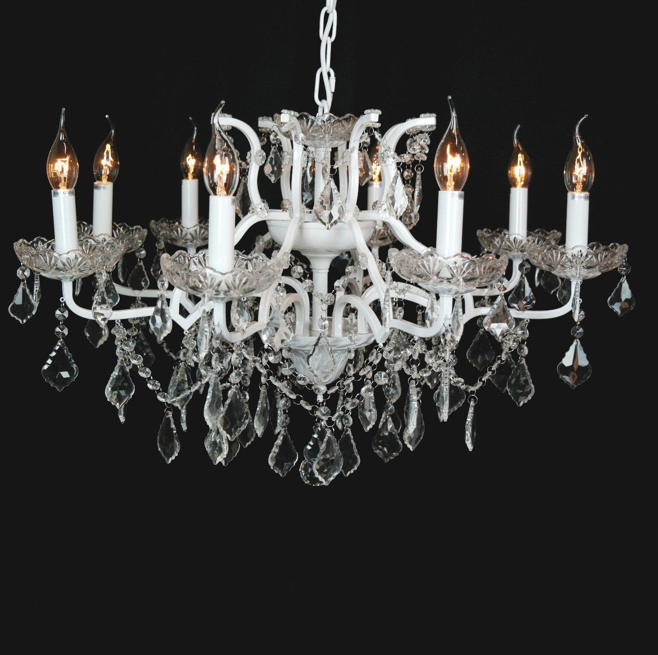 Beautiful Cut Glass French Chandelier Shallow 8 Arm White With Regard To French Glass Chandelier (Image 2 of 15)