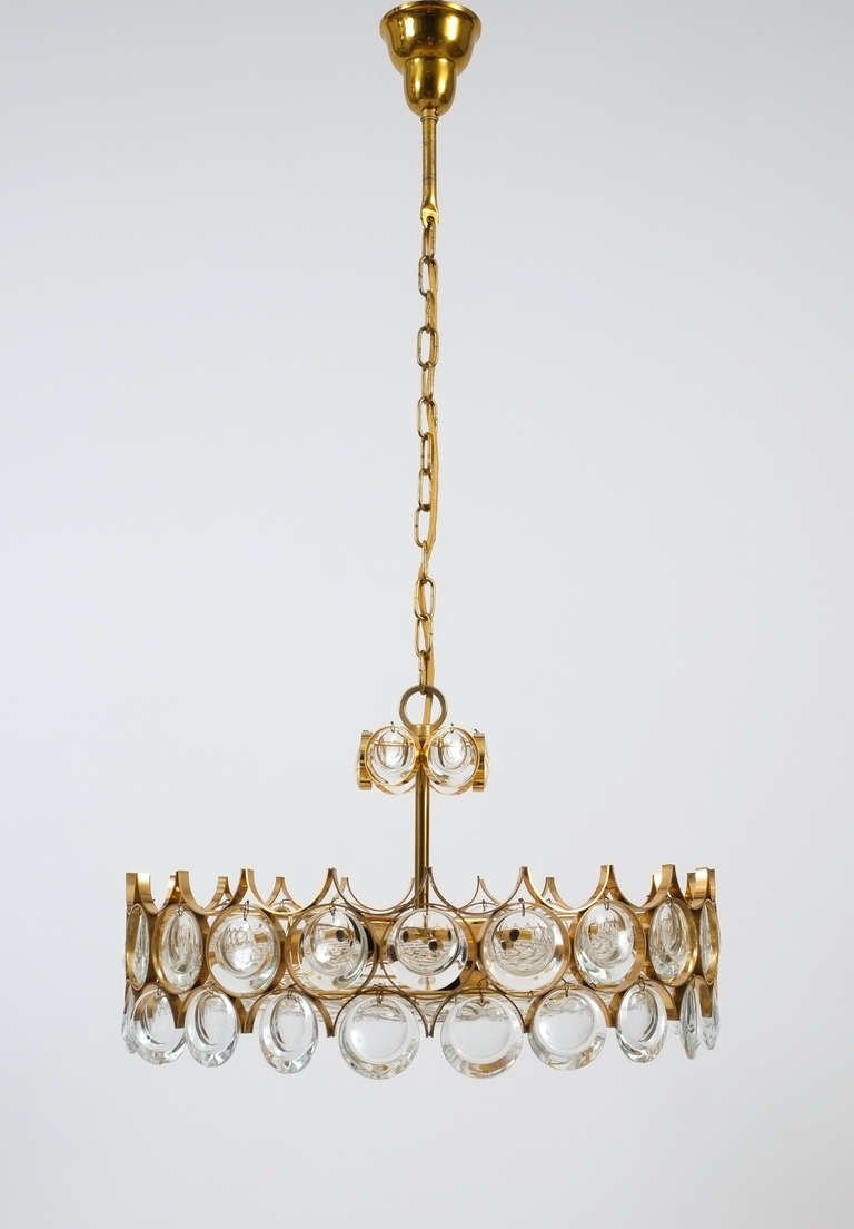 Beautiful Gilt Brass And Glass Chandelier Palwa At 1stdibs Within Brass And Glass Chandelier (Image 1 of 15)