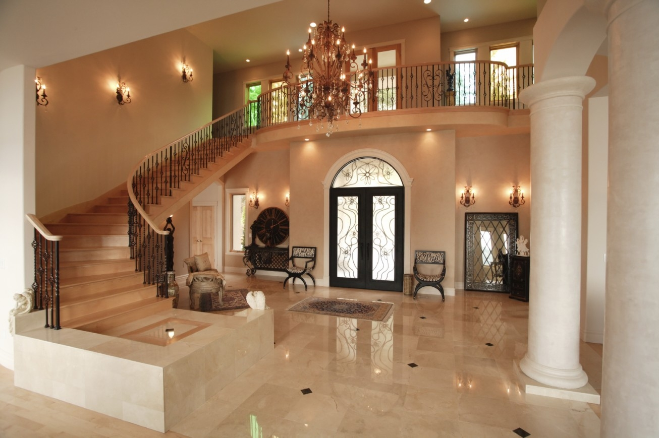 Beautiful Hallway And Marble Floors And Chandelier Also Cove For Chandeliers For Hallways (Image 3 of 15)