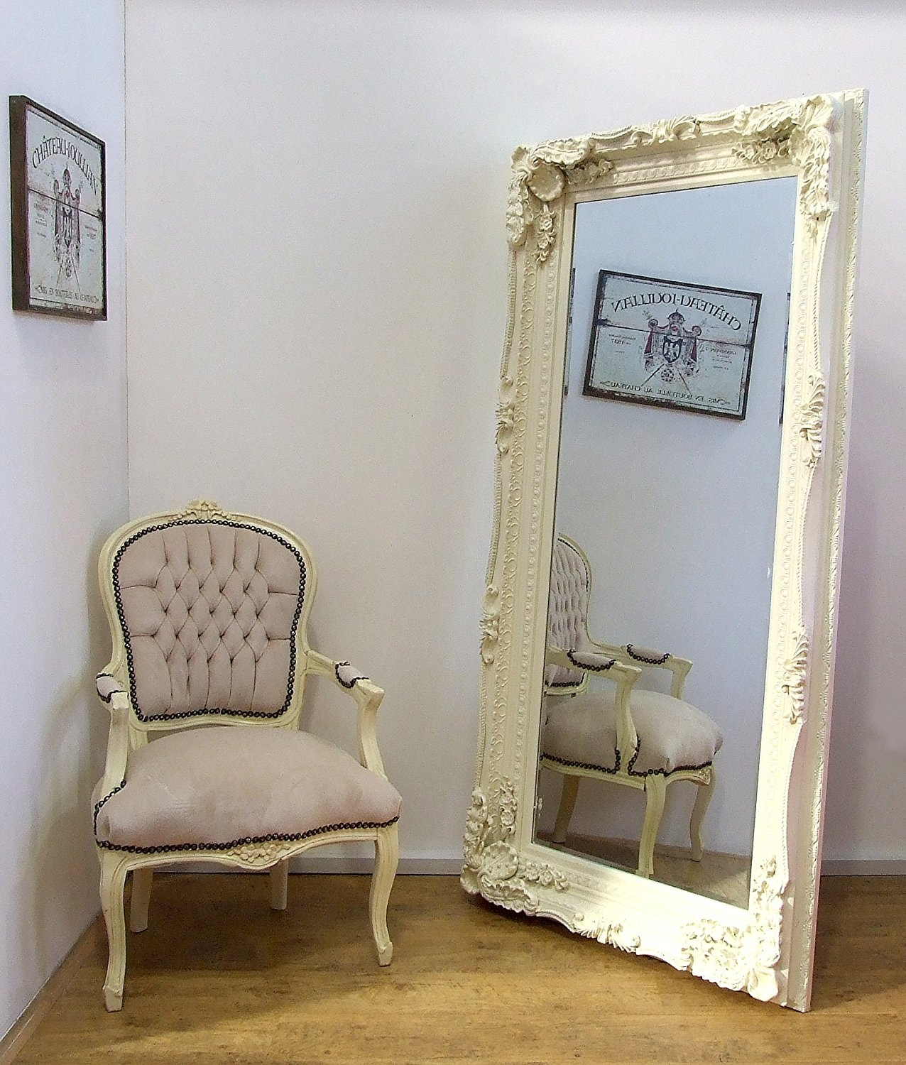 Beautiful Large Ornate Cream Ivory Wall Mirror 6ft X 3ft Gl42 With Large Cream Mirror (Image 2 of 15)
