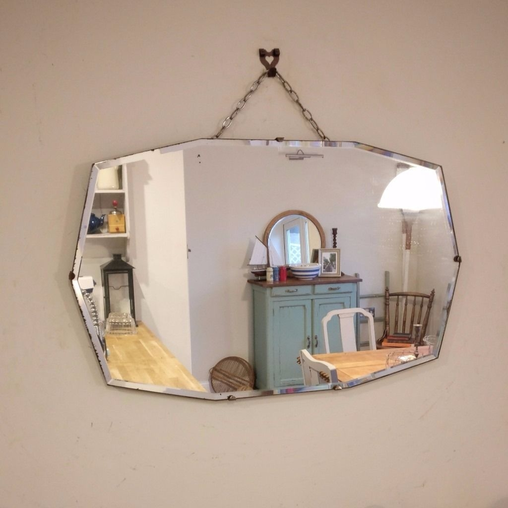 Beautiful Large Oval Vintage Bevelled Edge Mirror 1062 In Lee Regarding Vintage Bevelled Edge Mirror (Image 3 of 15)