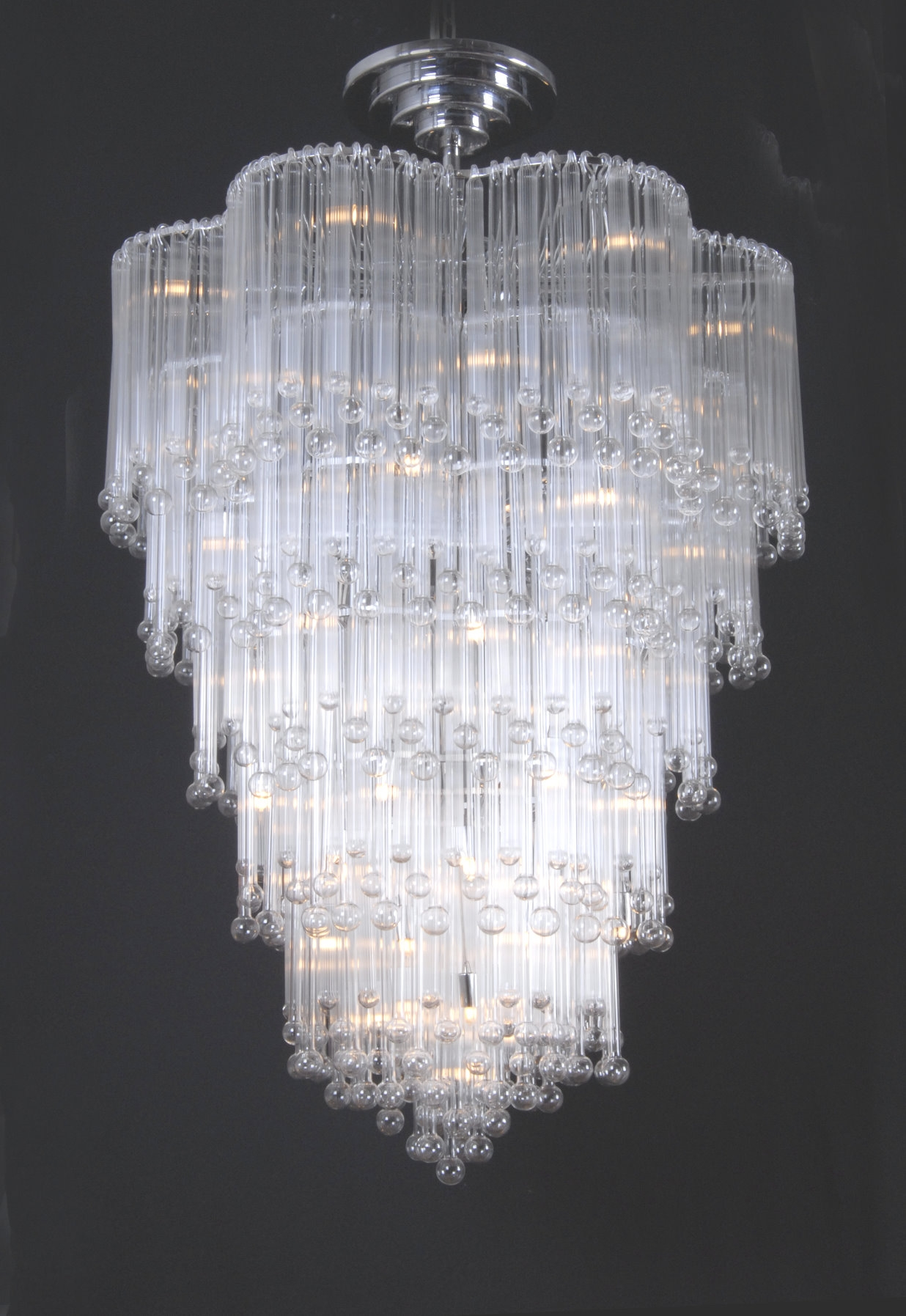 Beautiful Long Glass Chandelier Furniture Ideas Throughout Glass Chandelier (Image 5 of 15)