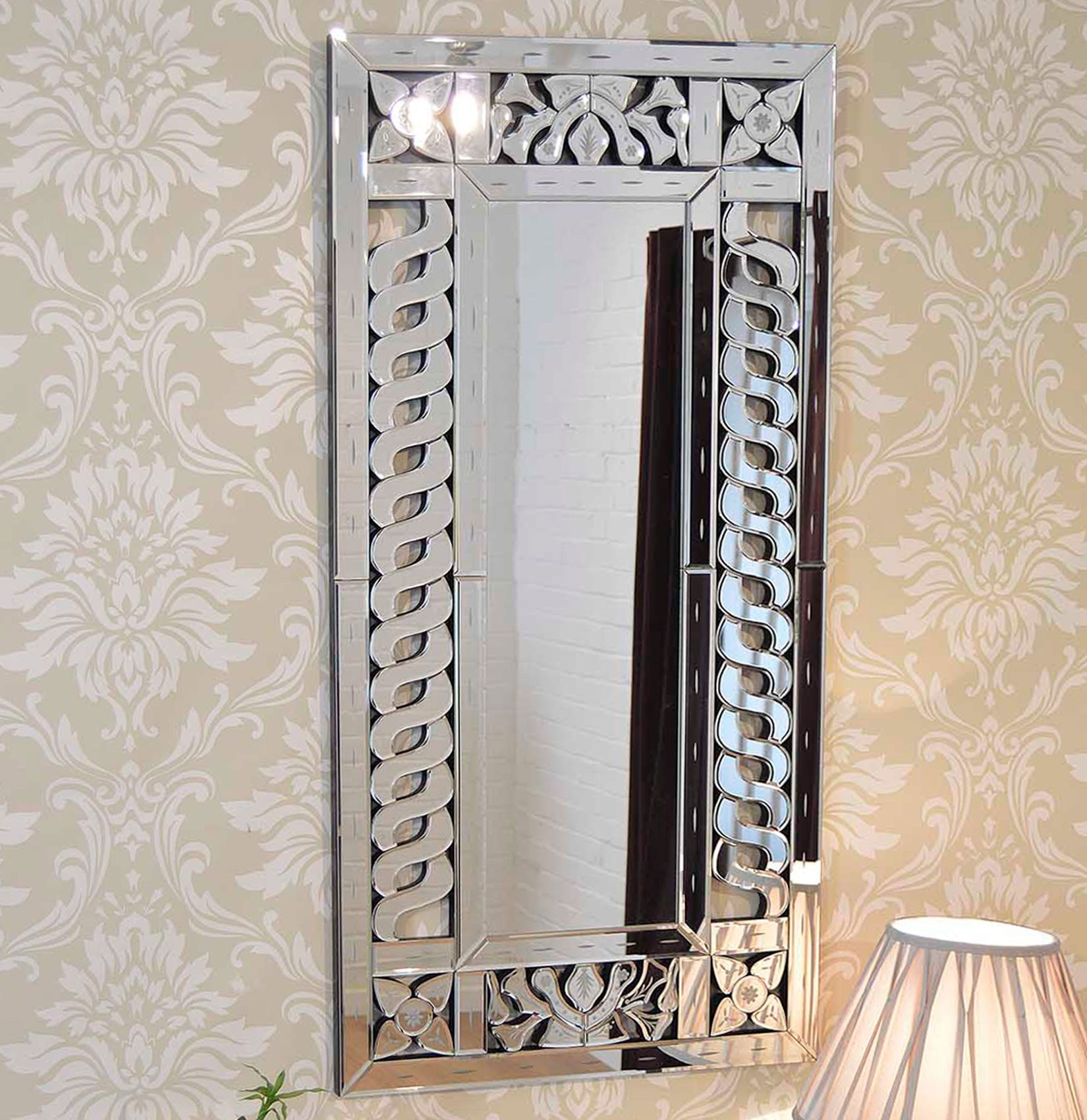 Beautiful Modern Frameless Venetian Wall Mirror 4ftx2ft 120cmx60cm For Venetian Wall Mirror (Image 3 of 15)