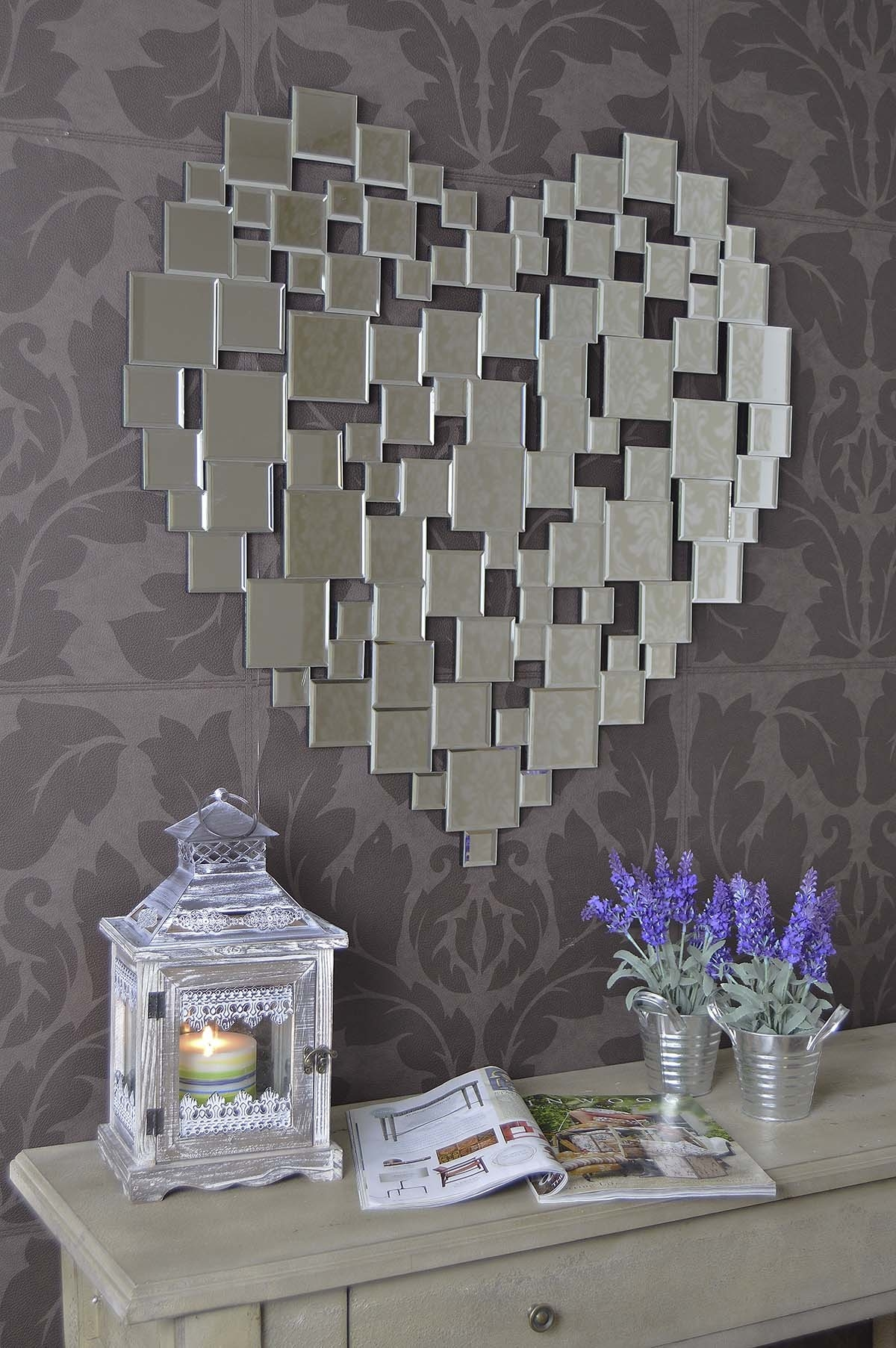 Beautiful Modern Heart Shape Venetian Wall Mirror 2ft8 80cm Intended For Heart Venetian Mirror (Image 4 of 15)