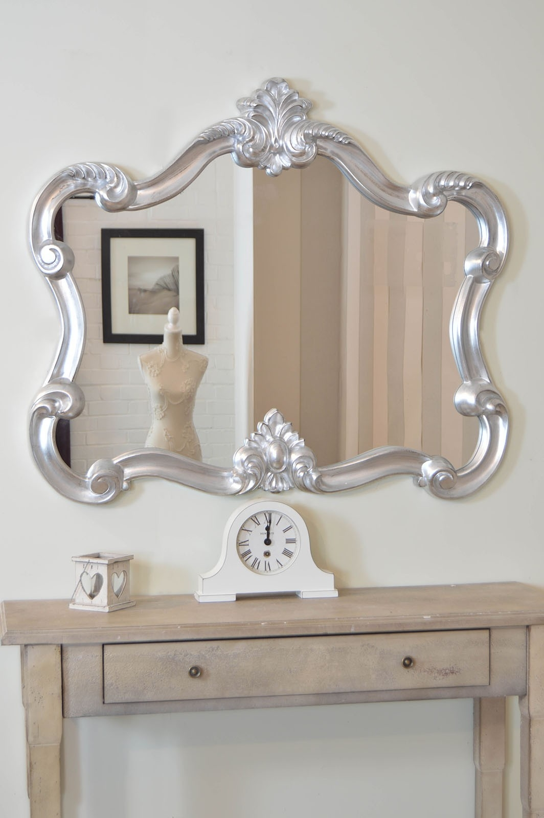 Beautiful Silver Decorative Shab Chic Over Mantle Mirror 3ft7 X 3ft2 Within Shabby Chic Mirror With Shelf (Image 1 of 15)