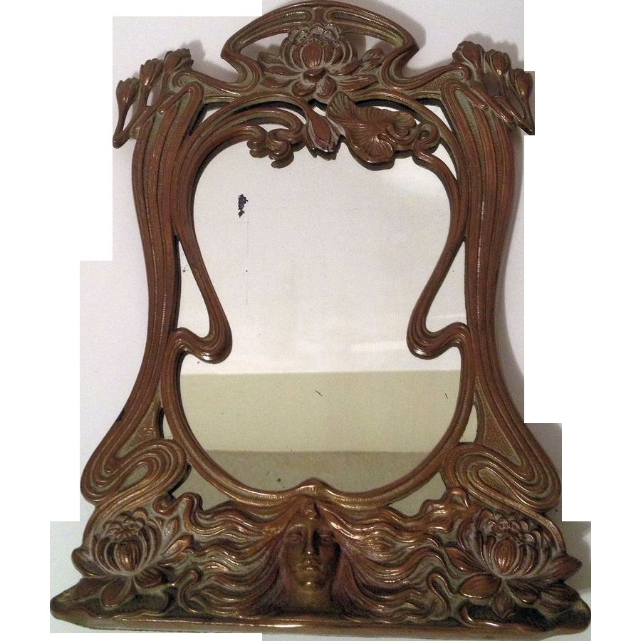 Beautiful Vintage French Art Nouveau Maiden Vanity Mirror Sold On Intended For Mirror Art Nouveau (Image 10 of 15)