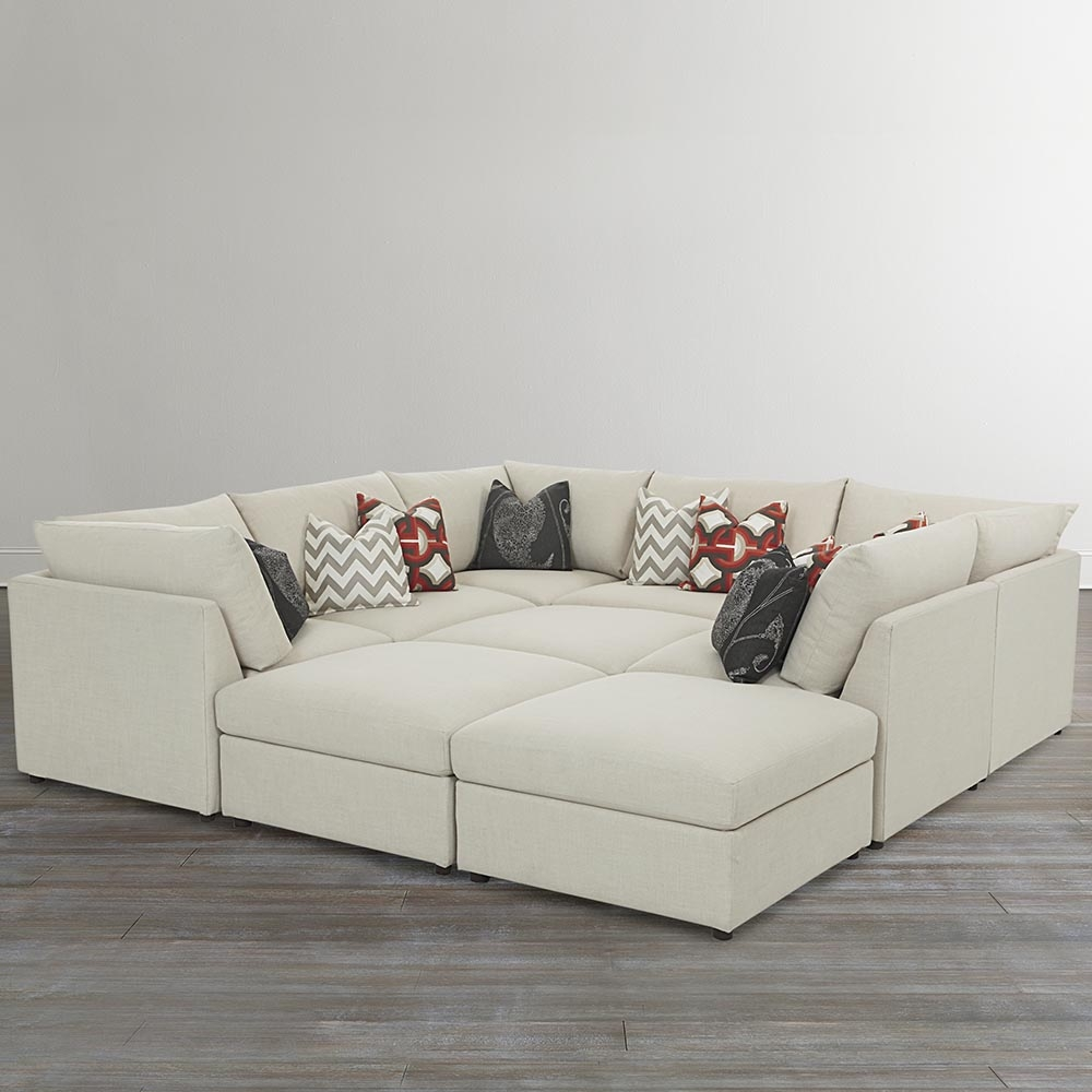 Beckham Upholstered Pit Sectional Living Room Bassett Furniture Inside Bassett Sofa Bed (Image 4 of 15)