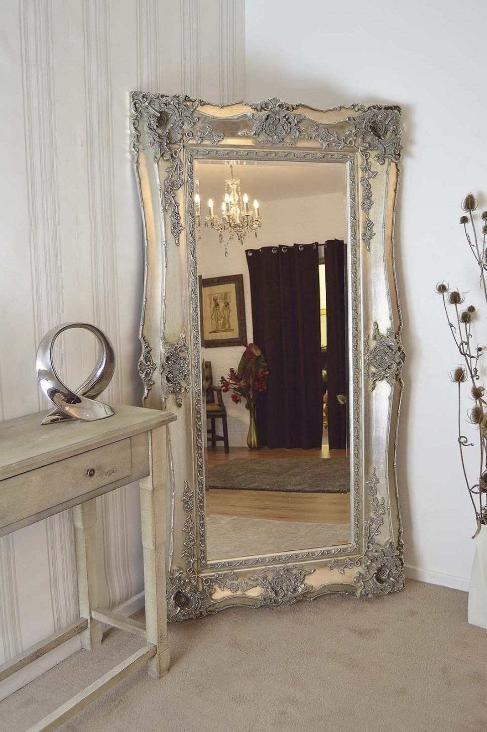 Bedroom Furniture Large Gold Mirror Free Standing Mirror Wooden For Antique Free Standing Mirror (Image 4 of 15)
