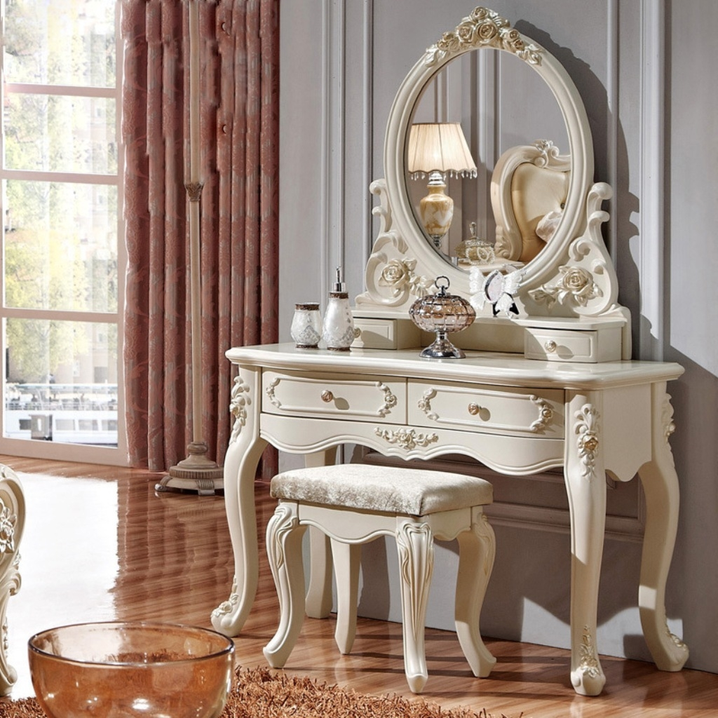 Bedroom Furniture White Gloss Dressing Table Mirror White Regarding Ornate Dressing Table Mirror (Image 1 of 15)