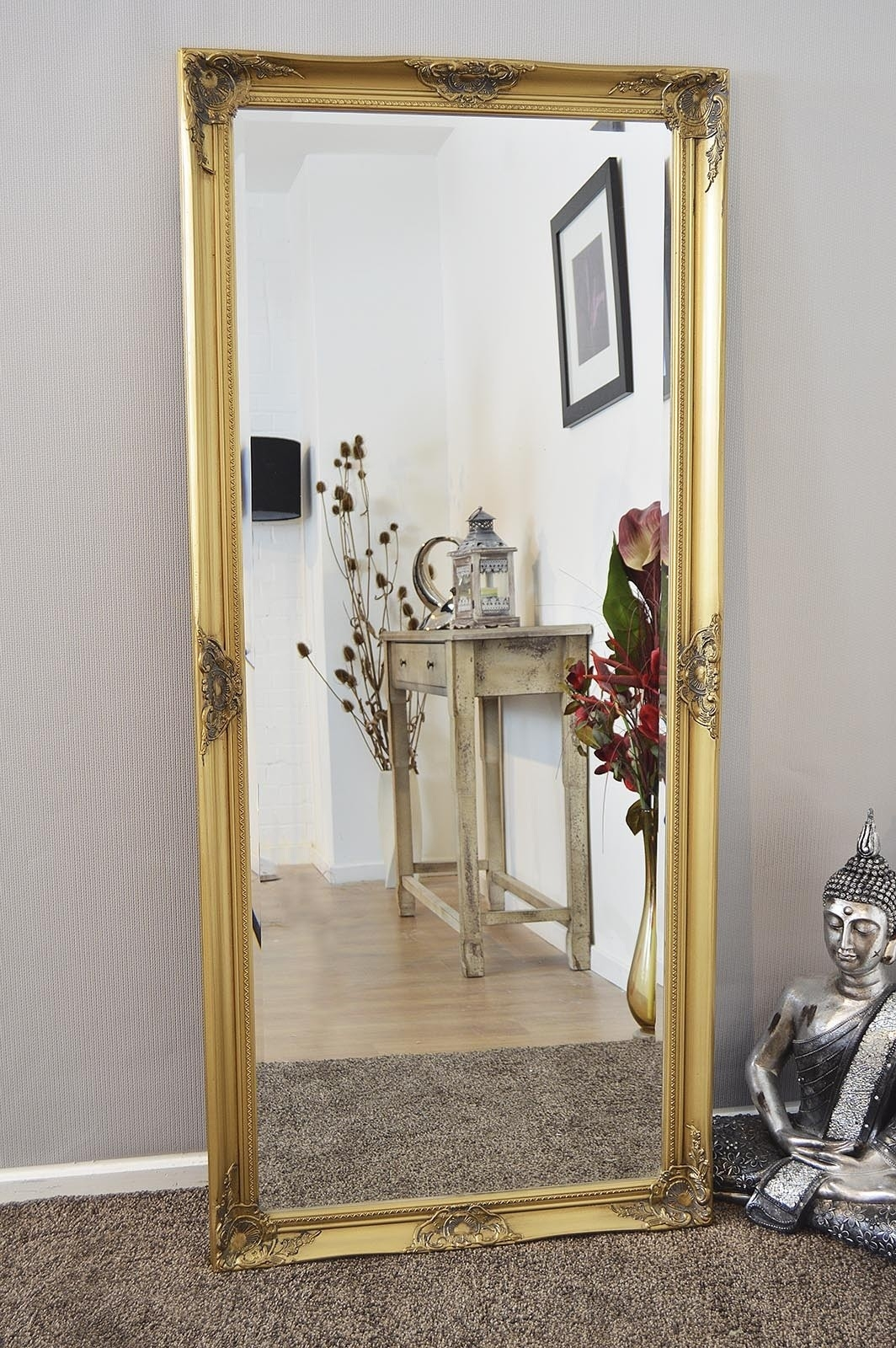 Bedroom Furniture Wood Framed Mirrors Leaner Mirror Gold Mirror Pertaining To Antique Gold Mirror Large (Image 5 of 15)