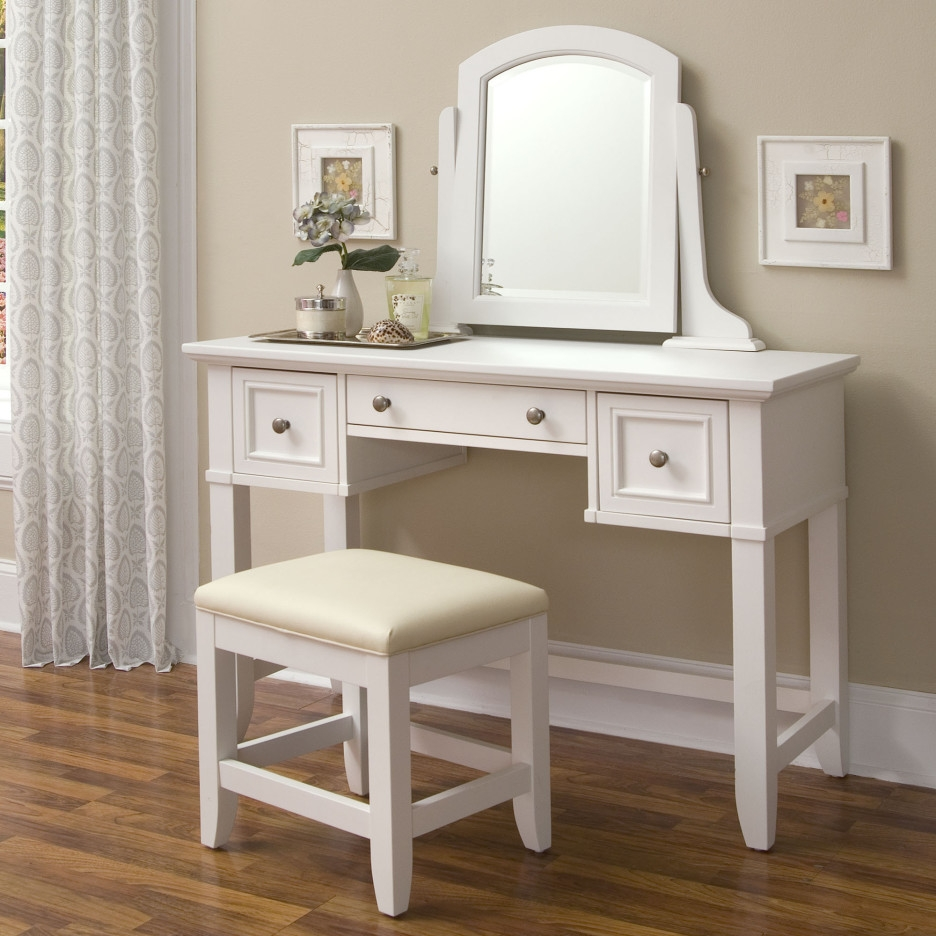 Bedroom Modern Home Furniture Design Of White Bedroom Vanity With Long Brown Mirror (Image 2 of 15)