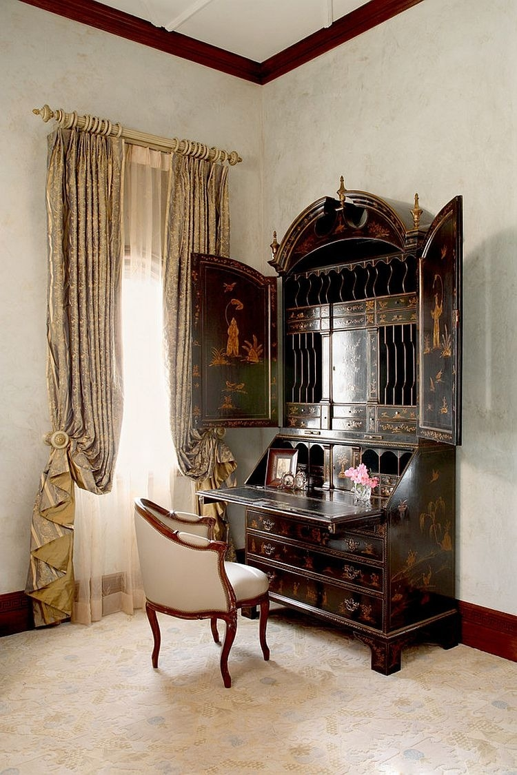 Bedroom Small Bathroom With Reclaimed Wooden Table Also Metal Inside Black Victorian Style Mirror (Image 3 of 15)