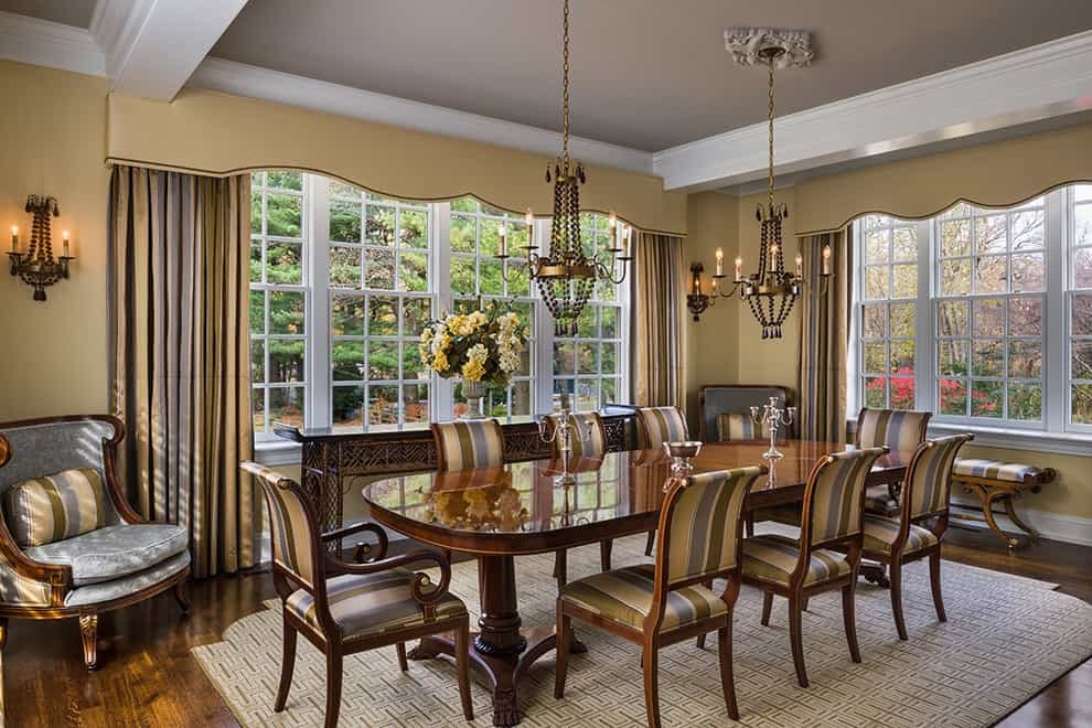 Beige Window Cornices For Classical Dining Room Interior (Image 1 of 20)