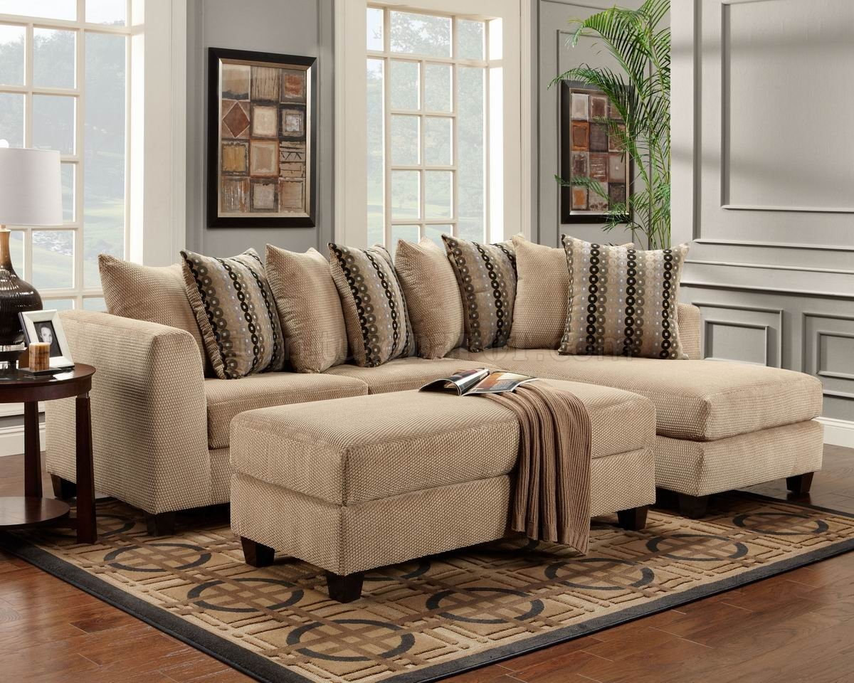 Beige Fabric Modern Elegant Sectional Sofa Woptional Ottoman Within Elegant Sectional Sofas (Image 3 of 15)