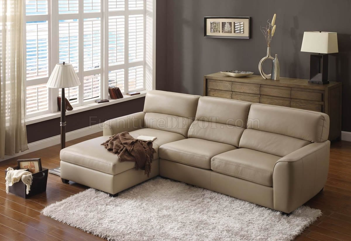 Beige Leather Elegant Modern Sectional Sofa With Regard To Elegant Sectional Sofas (Image 4 of 15)