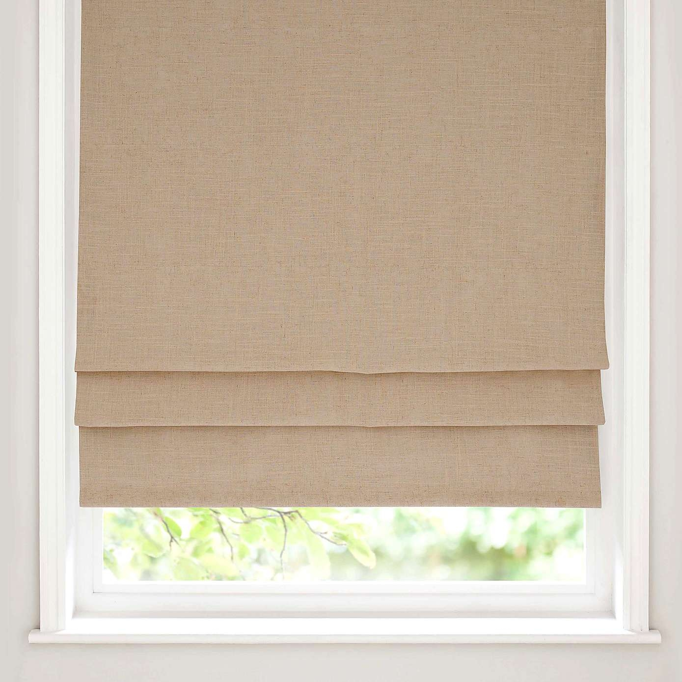 Beige Linen Blackout Roman Blind Dunelm Best Blackout Curtains Within Blackout Roman Blind (Image 3 of 15)
