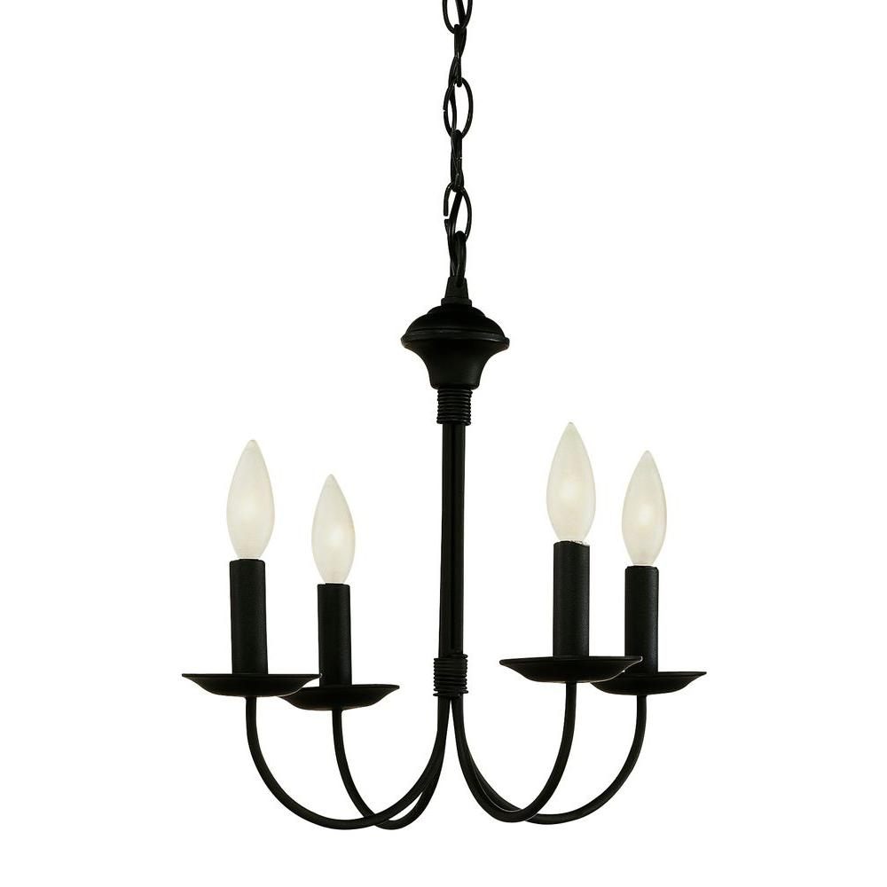 Bel Air Lighting Cabernet Collection 4 Light Black Chandelier 9014 Inside Black Chandelier (Image 3 of 15)