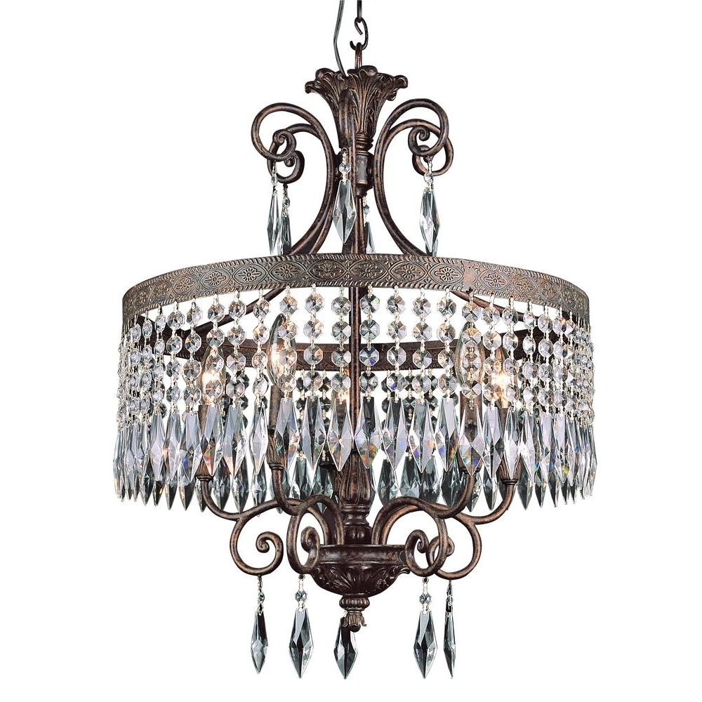 Bel Air Lighting Cabernet Collection 5 Light Patina Bronze Pertaining To Bronze And Crystal Chandeliers (View 3 of 15)