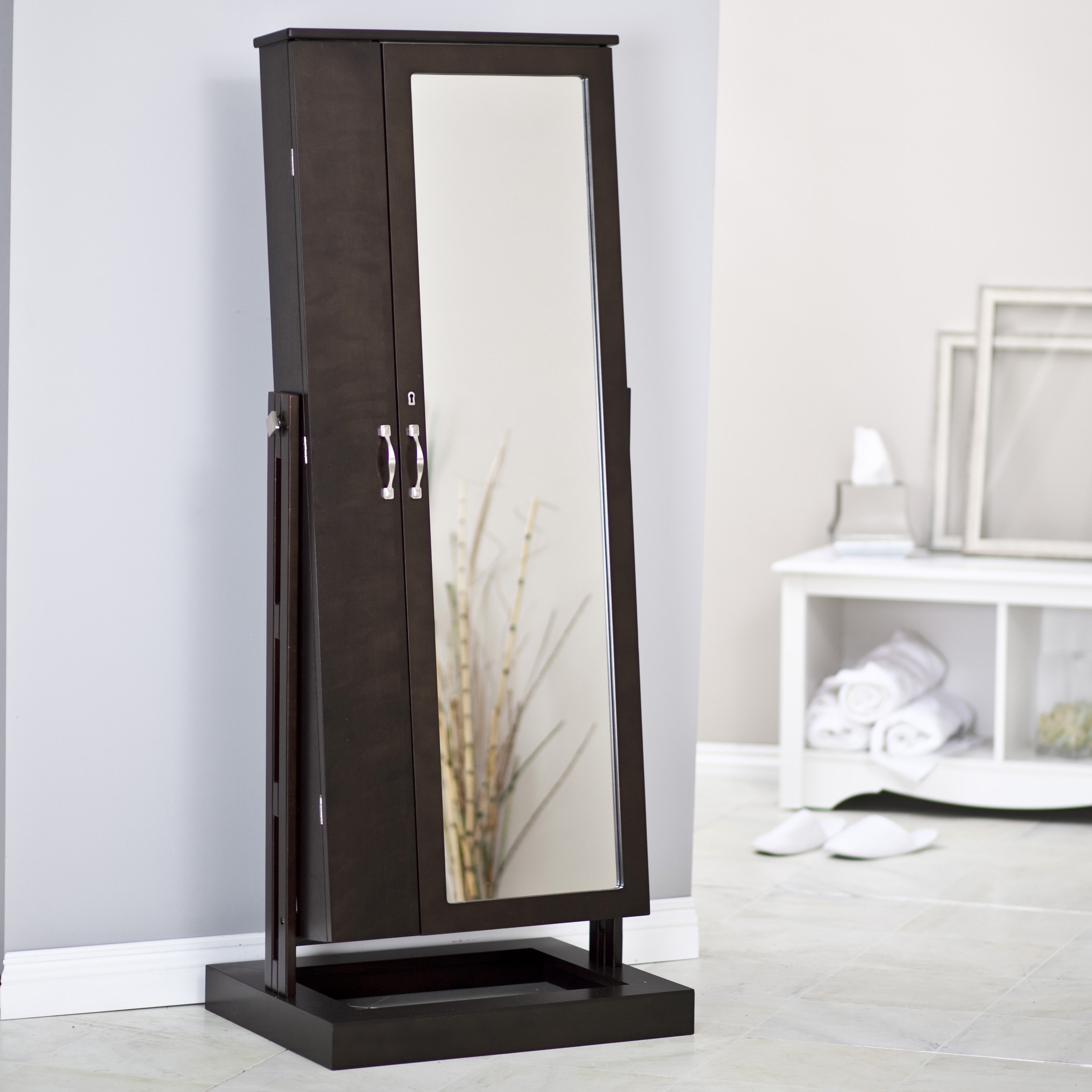 Belham Living Bordeaux Locking Cheval Mirror Jewelry Armoire With Regard To Silver Cheval Mirror (Image 3 of 15)