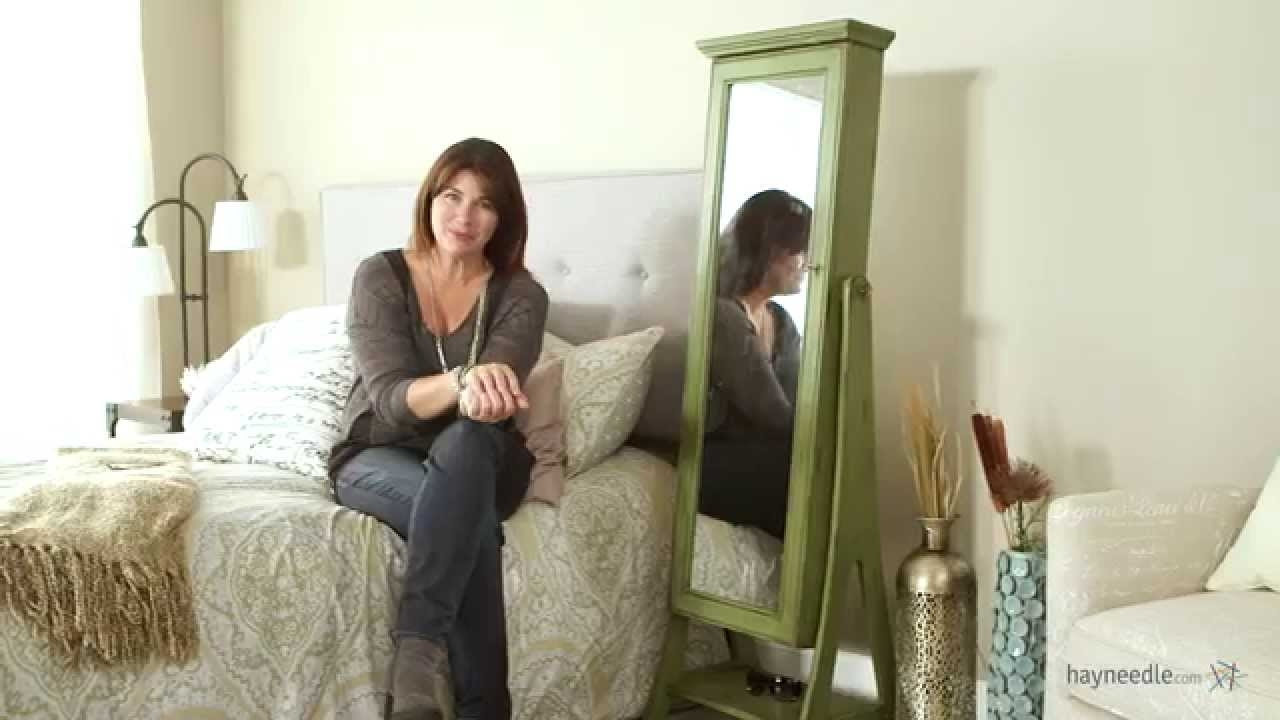 Belham Living Distressed Green Cheval Mirror Jewelry Armoire With Regard To Silver Cheval Mirror (Image 4 of 15)