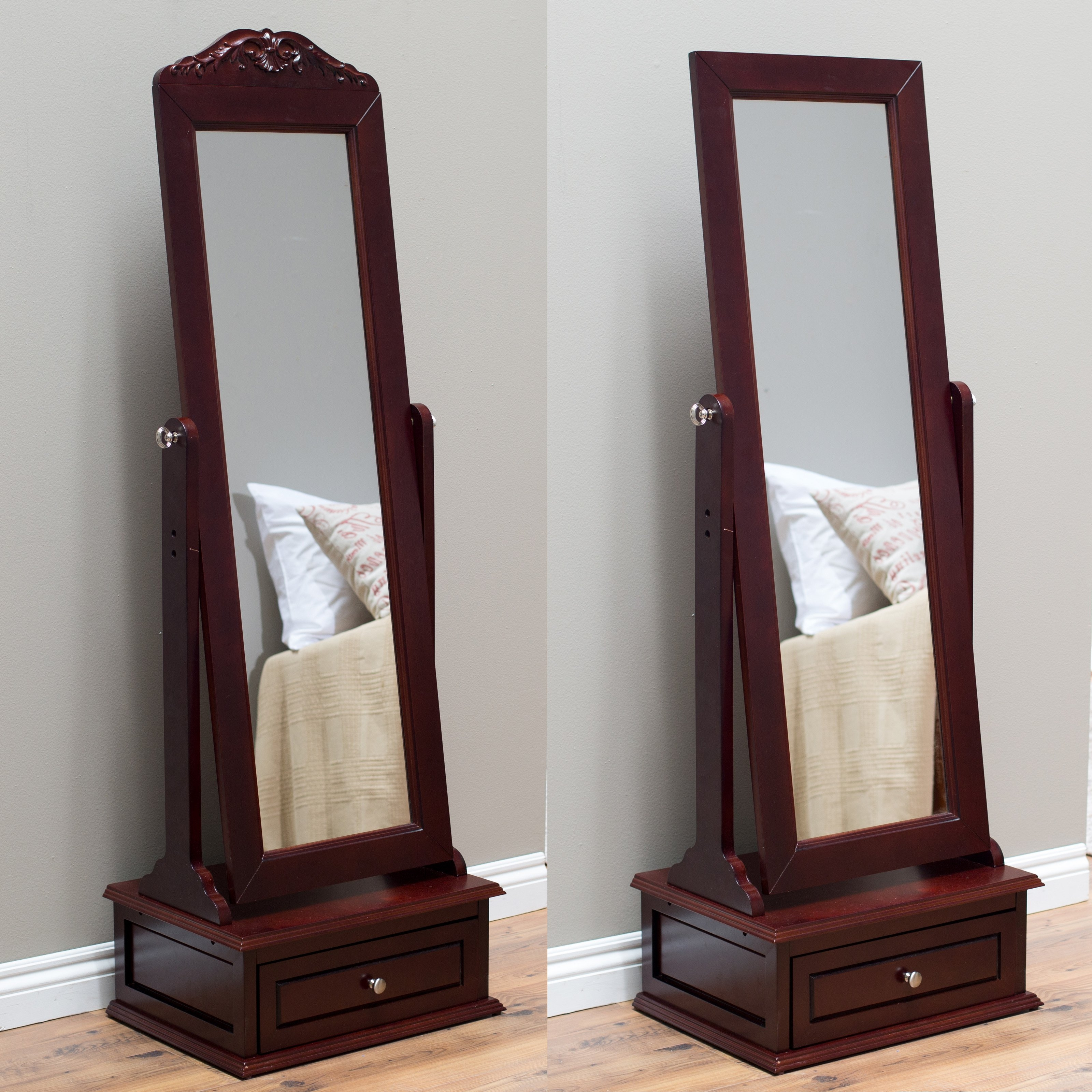 Belham Living Removable Decorative Top Cheval Mirror Cherry Regarding Mirror Cheval (Image 4 of 15)