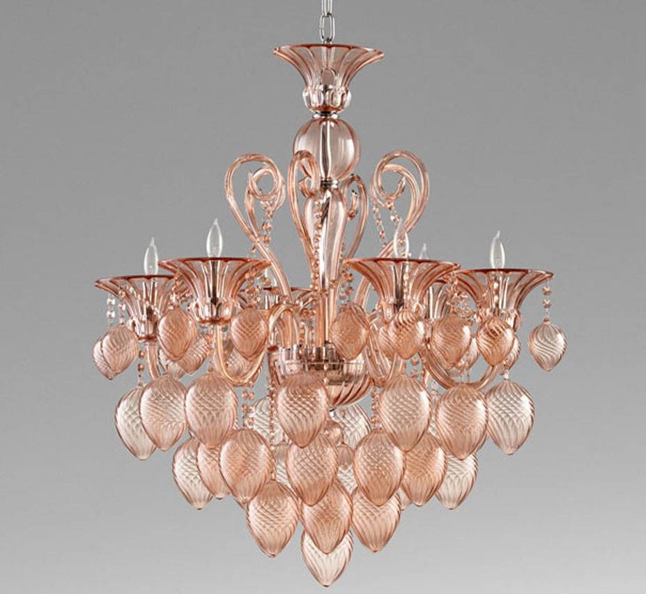 Bella Vetro 6 Light Large Glass Chandelier Grand Light With Regard To Large Glass Chandelier (Image 3 of 15)