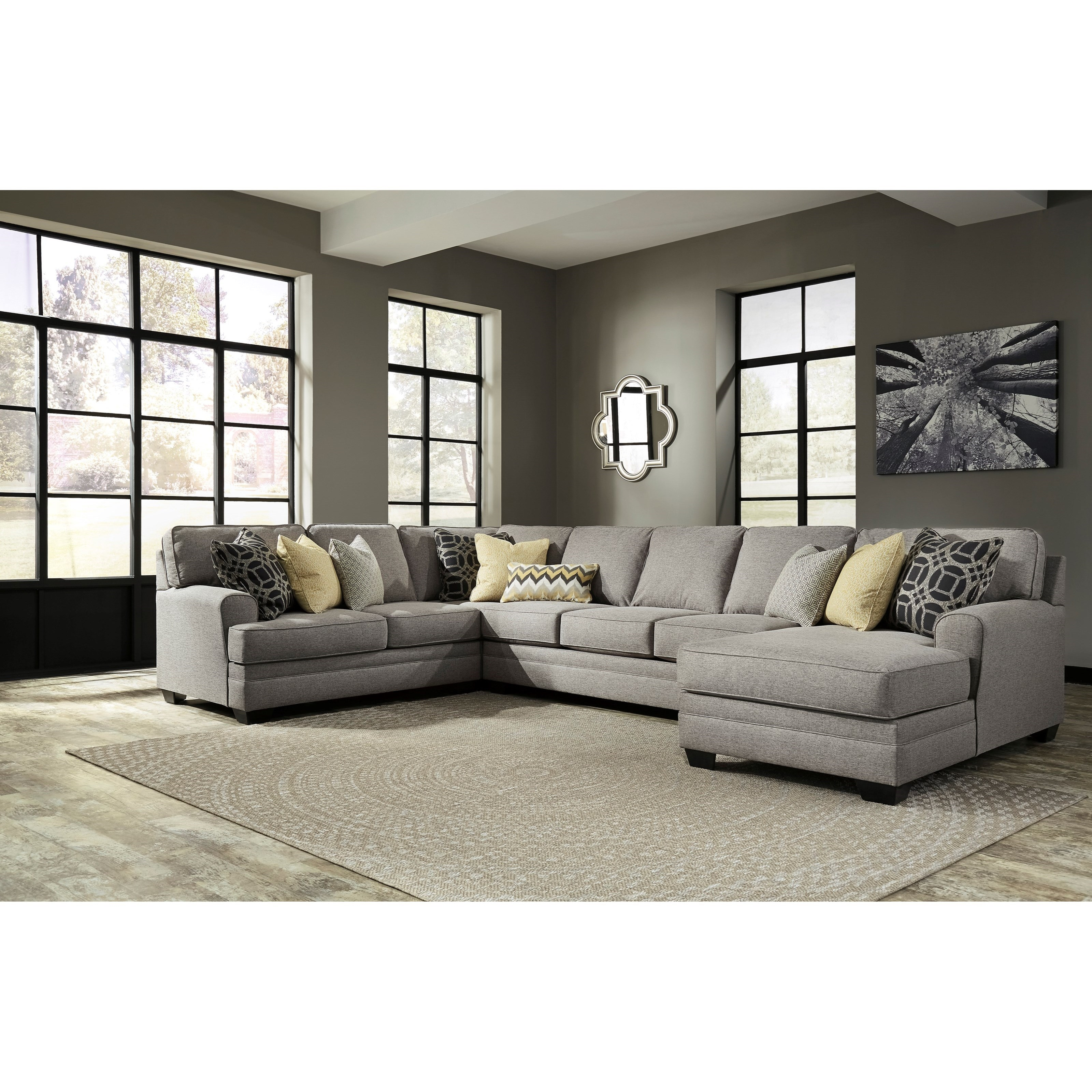 Benchcraft Cresson 4 Piece Sectional With Chaise Armless Sofa Intended For Armless Sectional Sofas (Image 6 of 15)