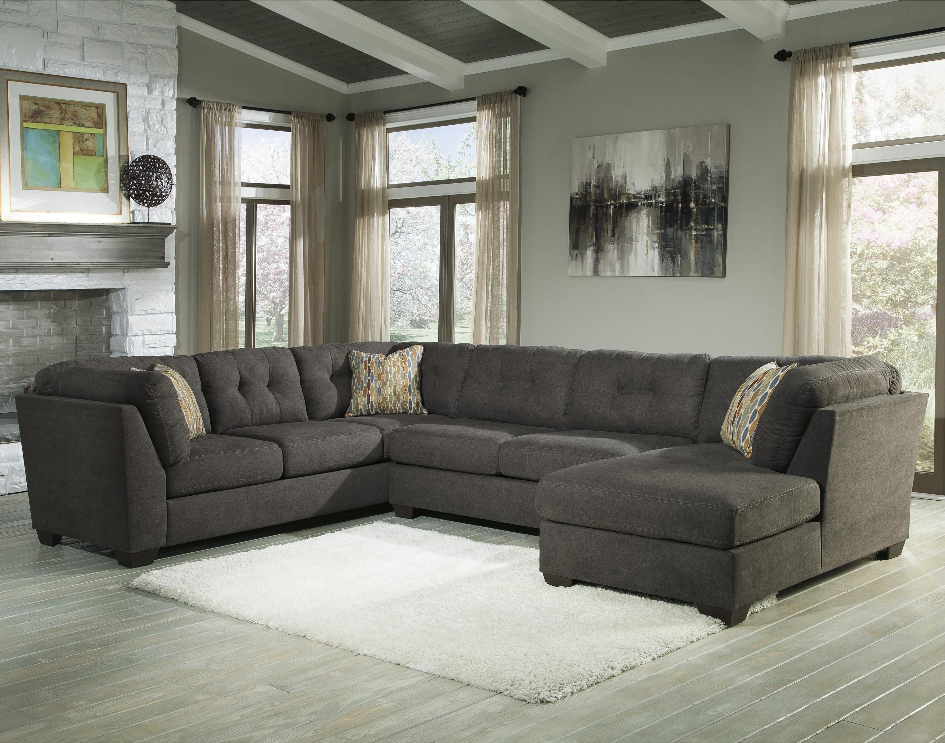 Benchcraft Delta City Steel 3 Piece Modular Sectional With Right Pertaining To 3 Piece Sectional Sleeper Sofa (Image 6 of 15)