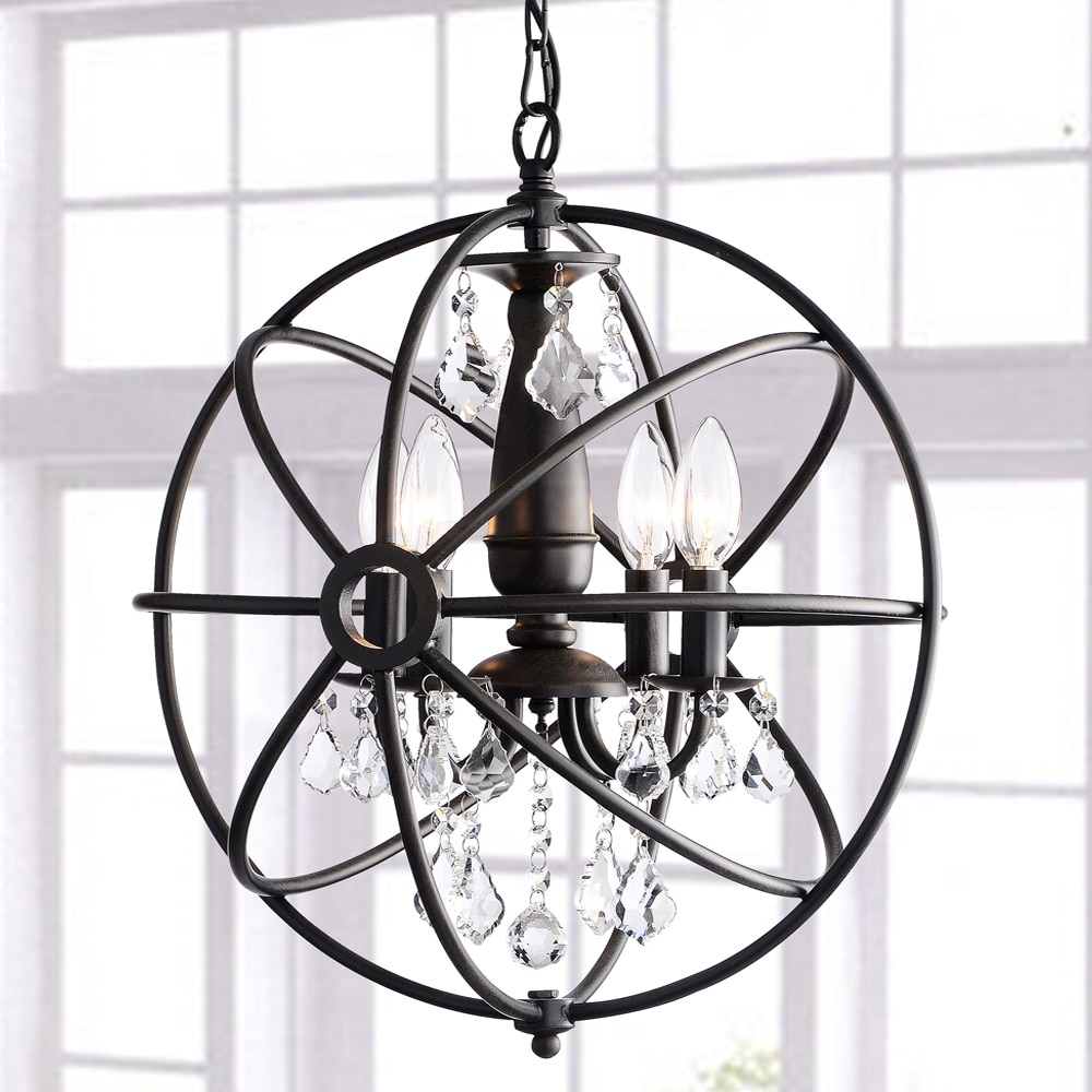 Benita Antique Black 4 Light Iron Orb Crystal Chandelier The Inside Antique Black Chandelier (Image 4 of 15)