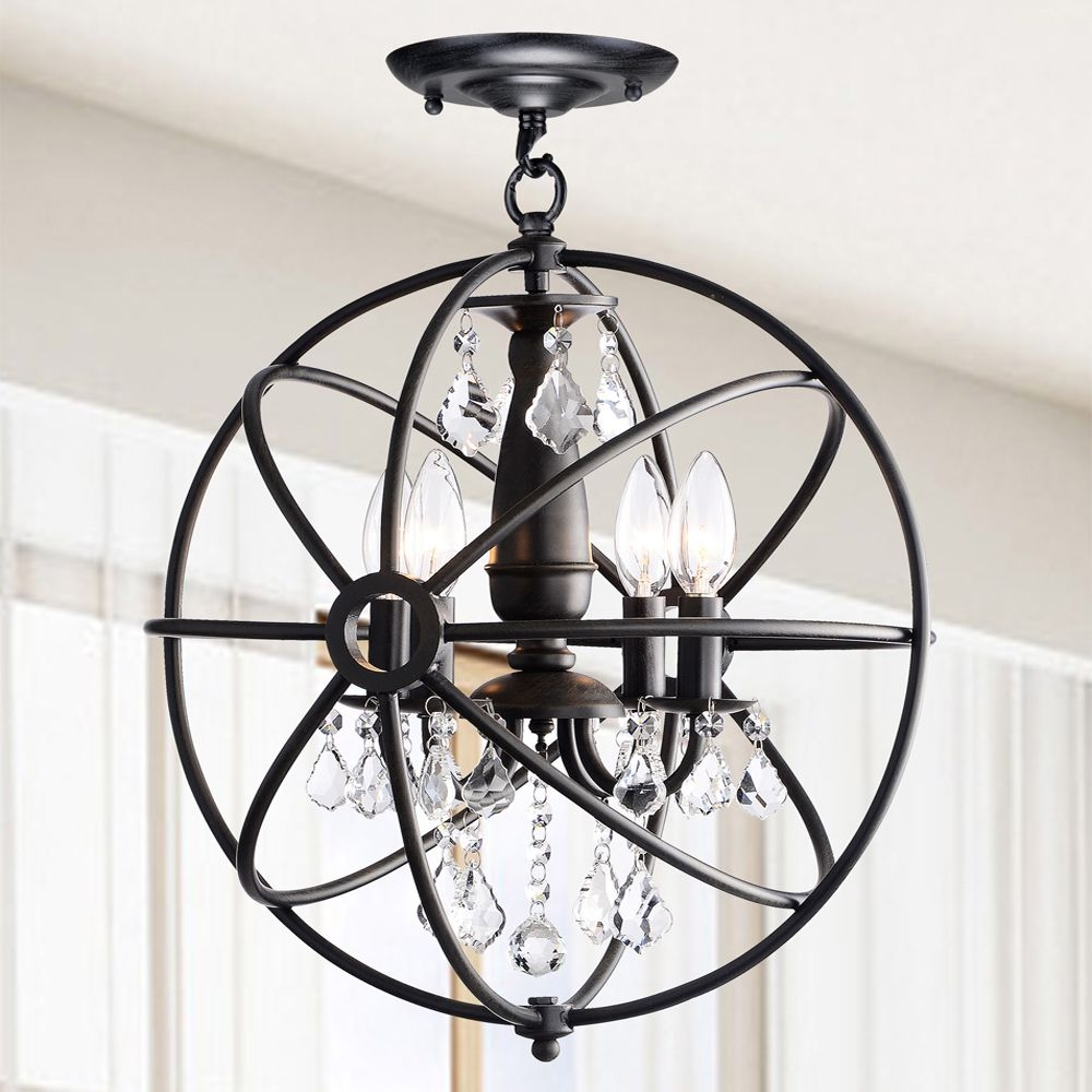 Benita Antique Black 4 Light Iron Orb Flush Mount Crystal For Antique Black Chandelier (Image 5 of 15)