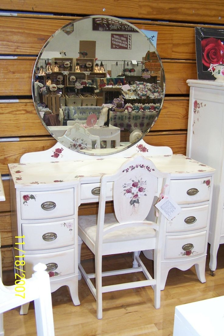 Best 56 Vintage Vanity Dressing Table Make Up Table Shab Chic Regarding Shabby Chic Round Mirror (Image 3 of 15)