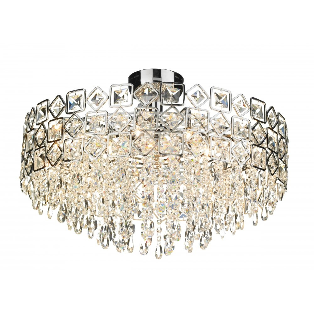Best Crystal Ceiling Chandelier Ceiling Mount Crystal Chandelier Intended For Flush Fitting Chandeliers (Image 2 of 15)