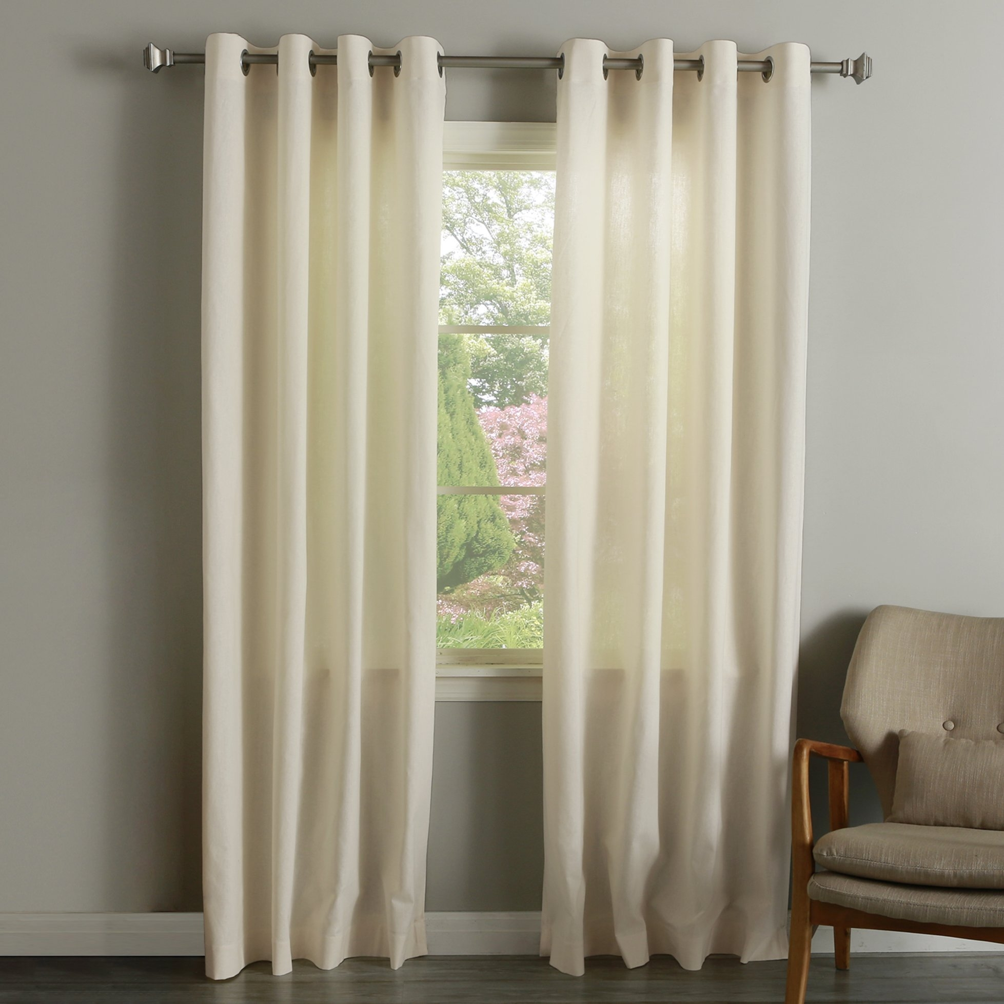 Best Home Fashion Inc Grommet Natural Solid Sheer Curtain Panels Pertaining To Natural Curtain Panels (View 10 of 15)