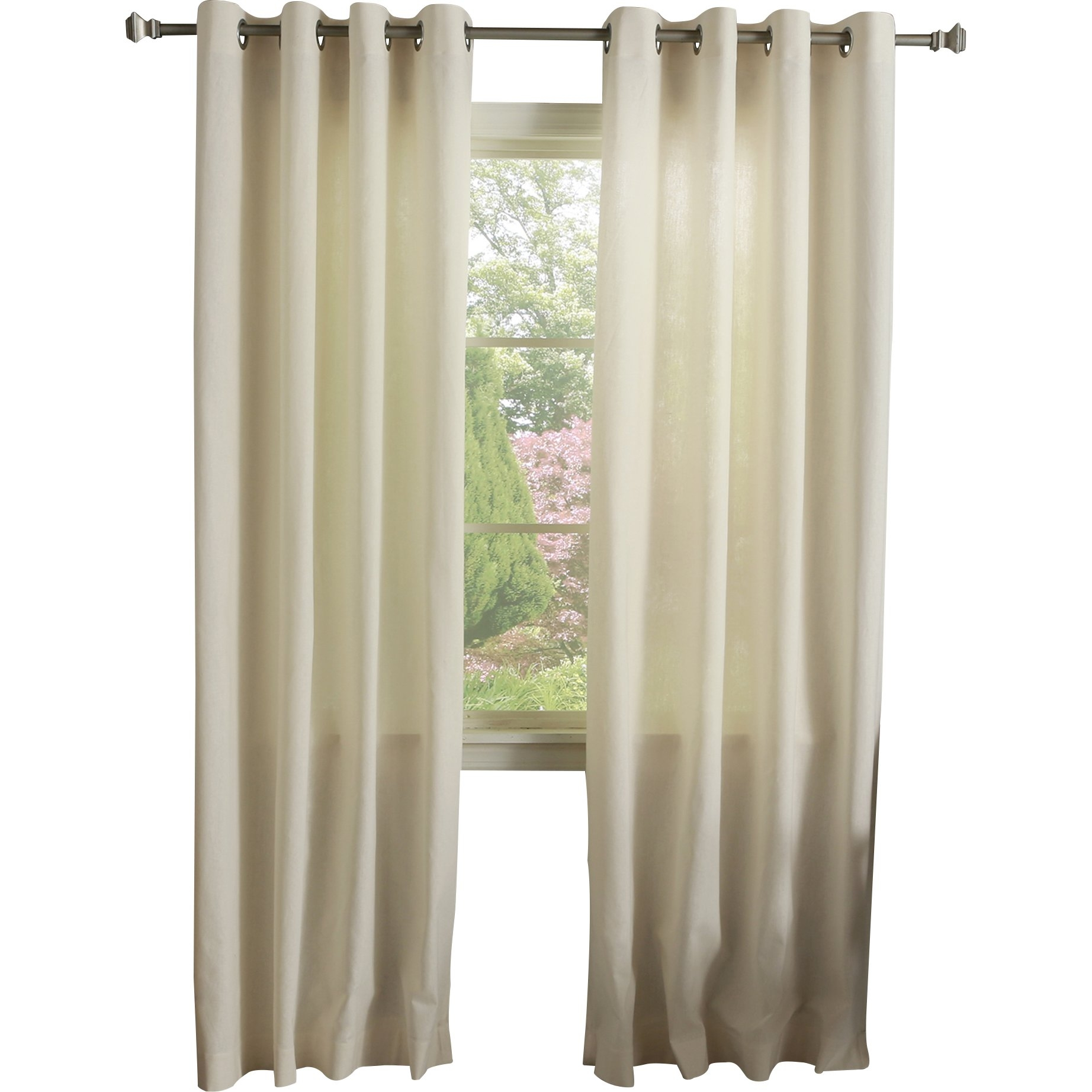 Best Home Fashion Inc Grommet Natural Solid Sheer Curtain Panels With Regard To Natural Curtain Panels (View 9 of 15)