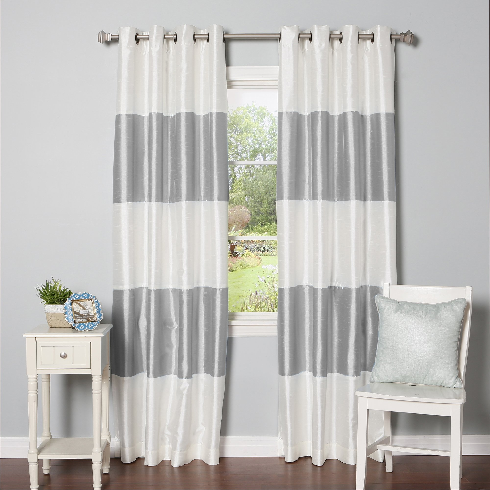 Best Home Fashion Inc Grommet Striped Blackout Thermal Curtain Inside Striped Thermal Curtains (Image 3 of 15)