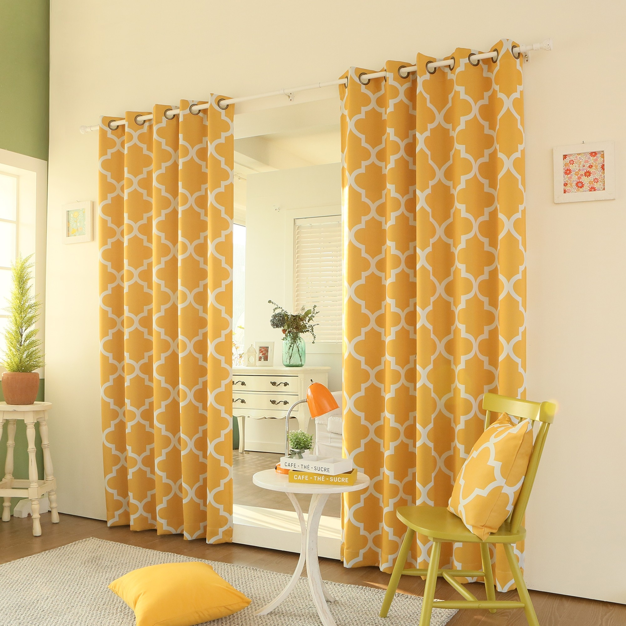 Best Home Fashion Yellow Moroccan Printed Room Darkening Intended For Moroccan Tile Curtains (Image 6 of 15)