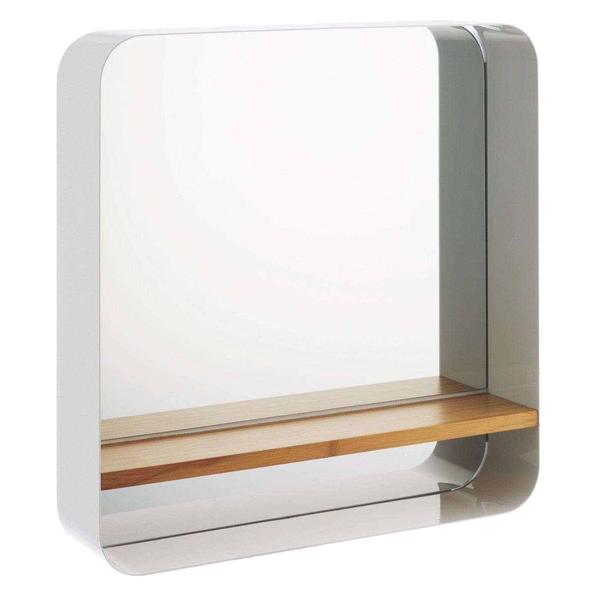 Bethany White Wall Mounted Mirror With Bamboo Shelf Buy Now At Throughout Buy A Mirror (Image 1 of 15)