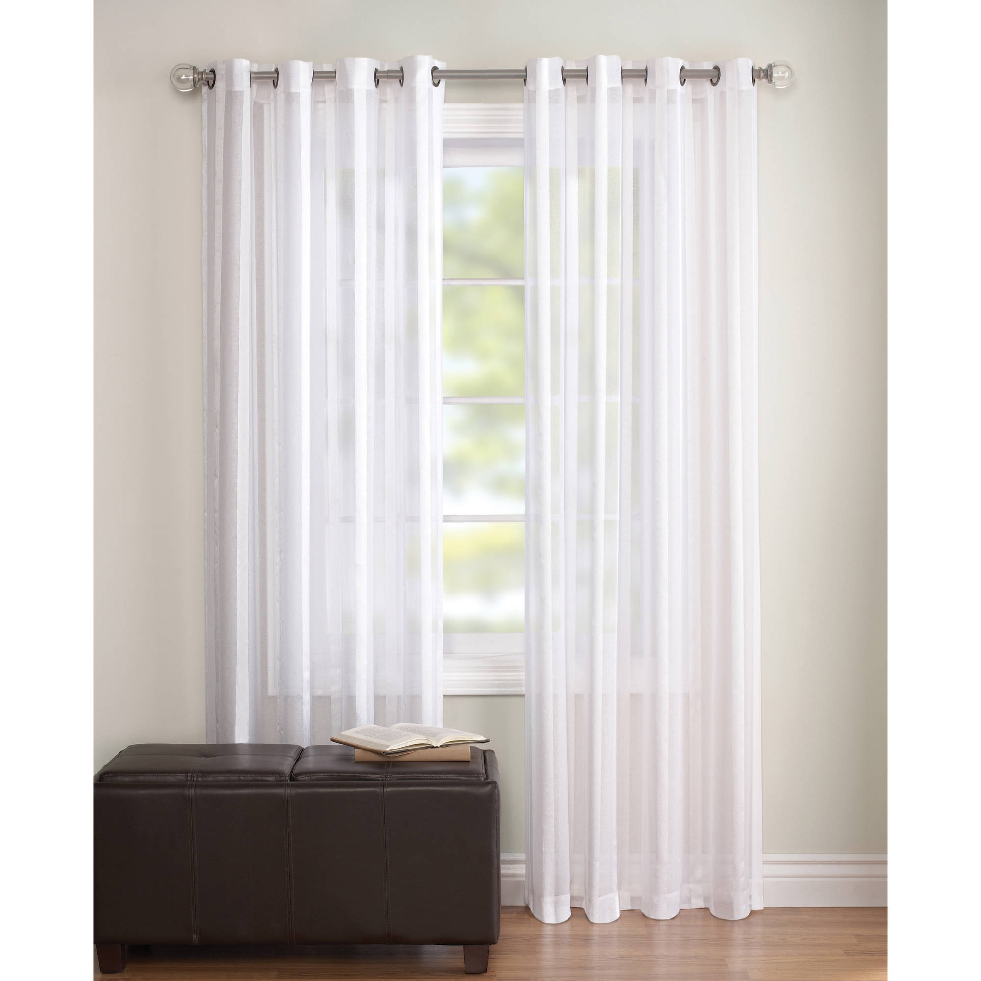 Better Homes And Gardens Embroidered Sheer Curtain Panel Walmart Inside White Sheer Cotton Curtains (Image 3 of 15)