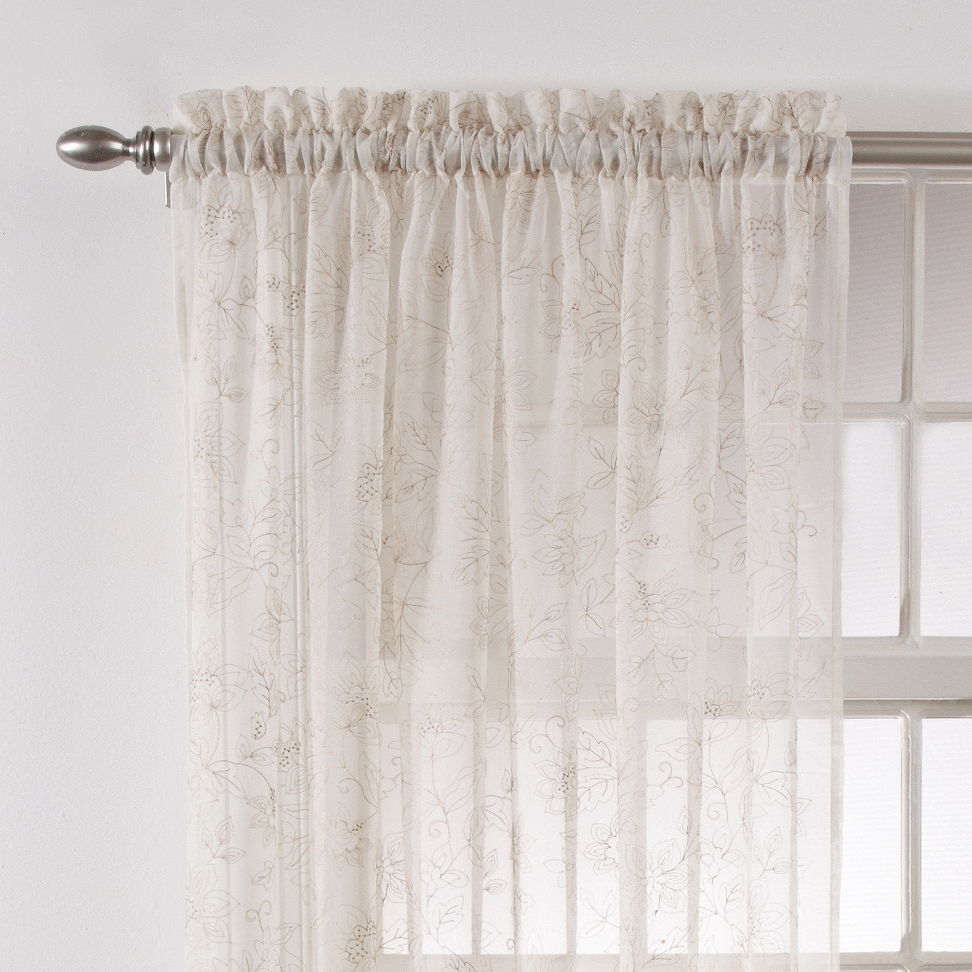 Better Homes And Gardens Embroidered Sheer Curtain Panel Walmart Regarding Linen Gauze Curtains (Image 2 of 15)